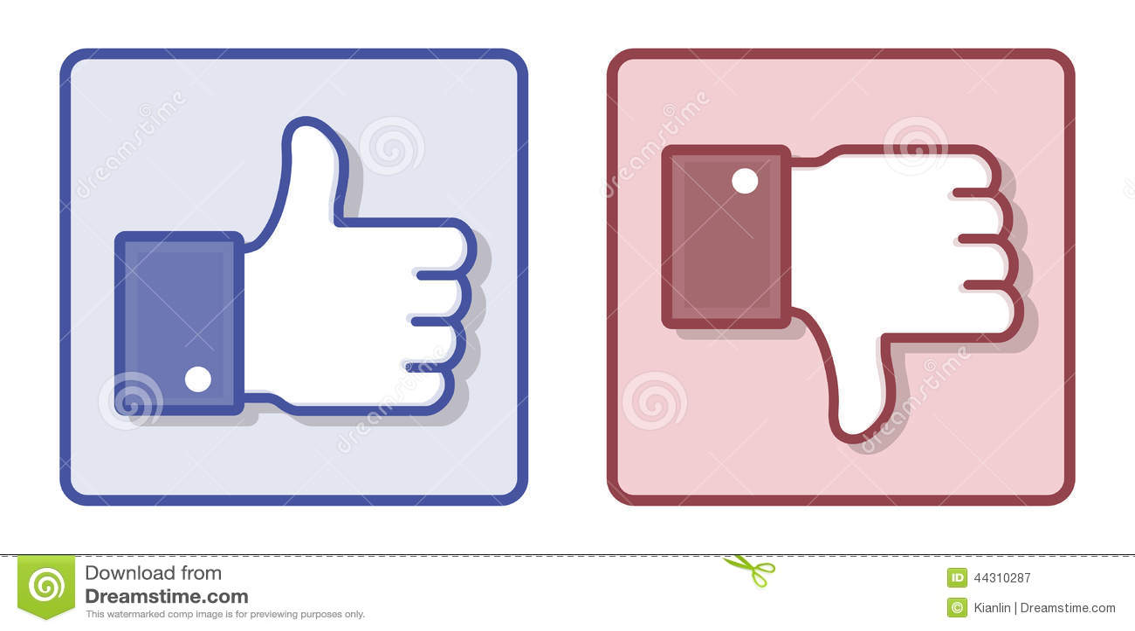 Vecteur Facebook comme le pouce d aversion vers le haut du signe