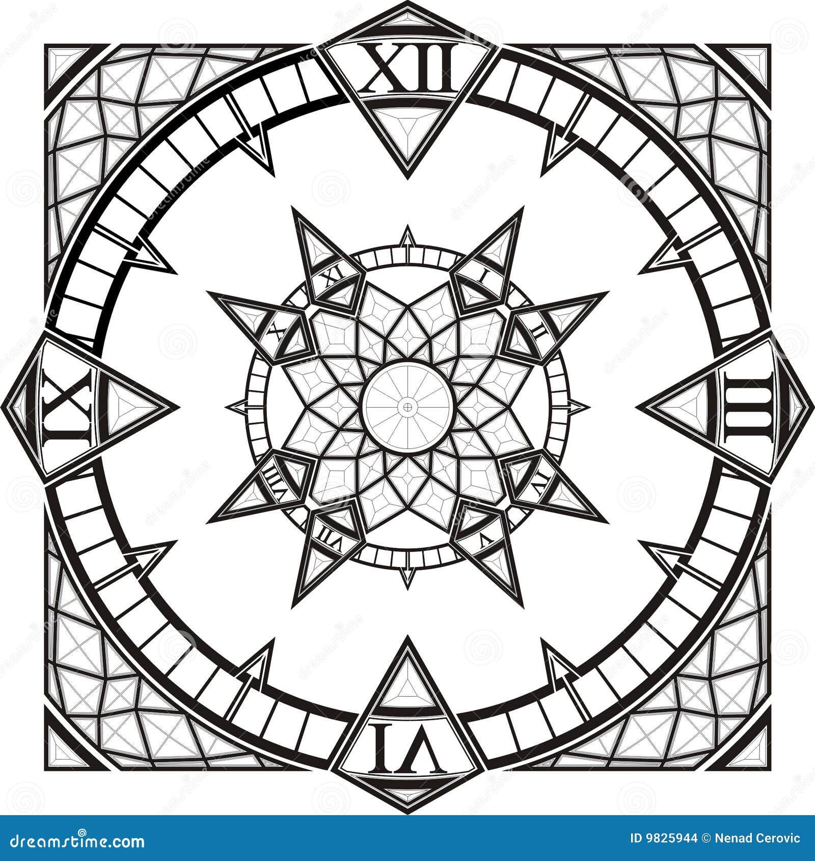 vecteur gothique de compas de tatouage de montre d 39 horloge. Black Bedroom Furniture Sets. Home Design Ideas