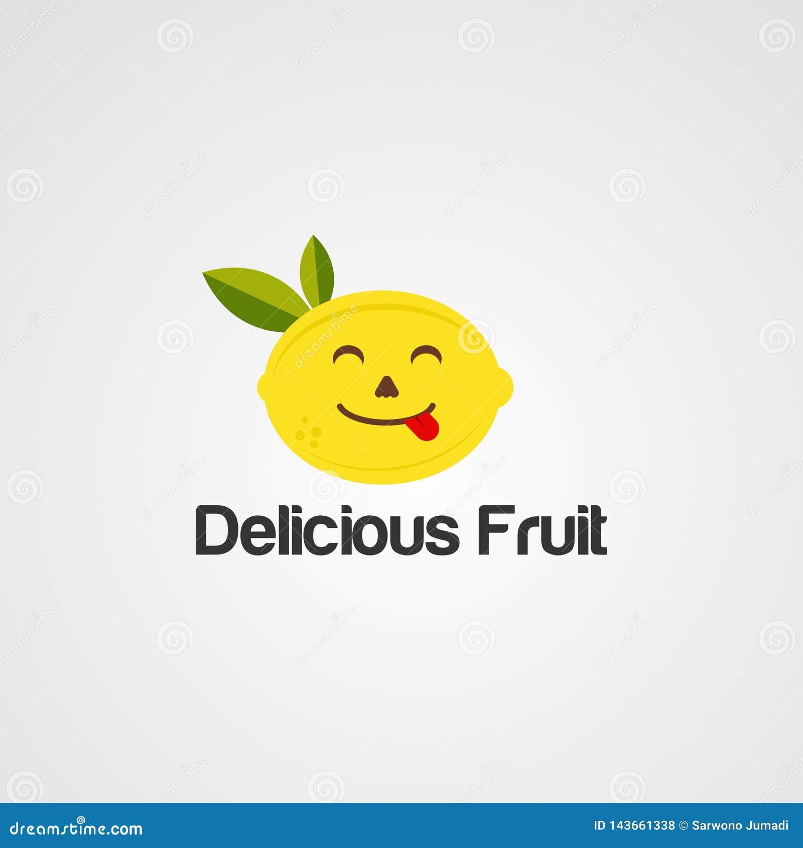 Vecteur, icône, élément, et calibre délicieux de logo de fruit