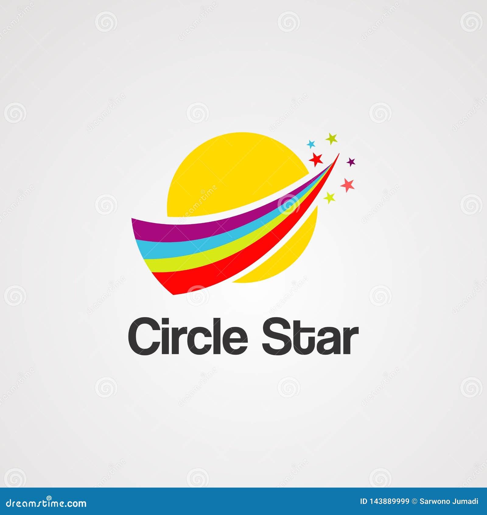 Vecteur, icône, élément, et calibre de logo d étoile de cercle