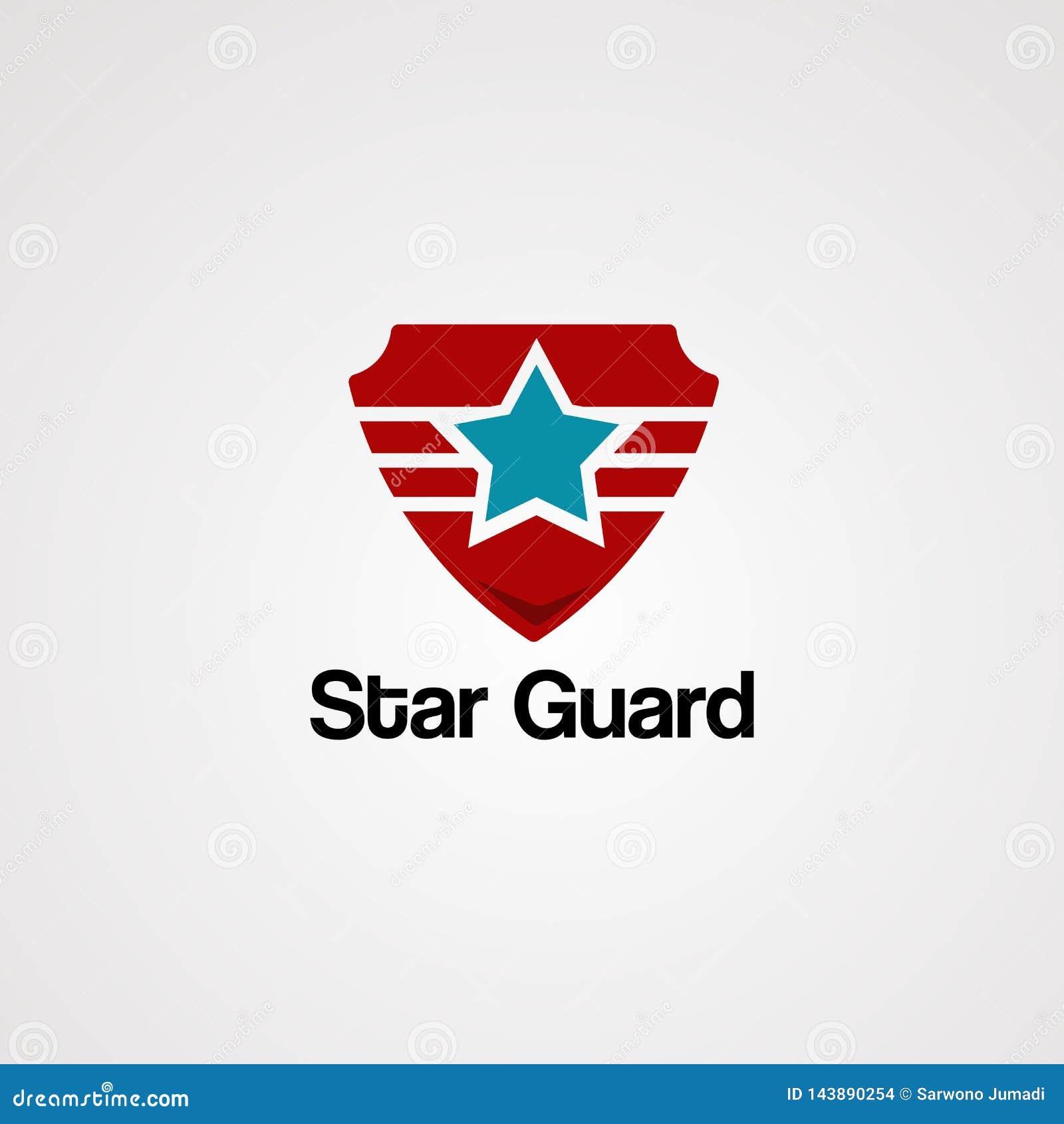 Vecteur, icône, élément, et calibre de logo de garde d étoile