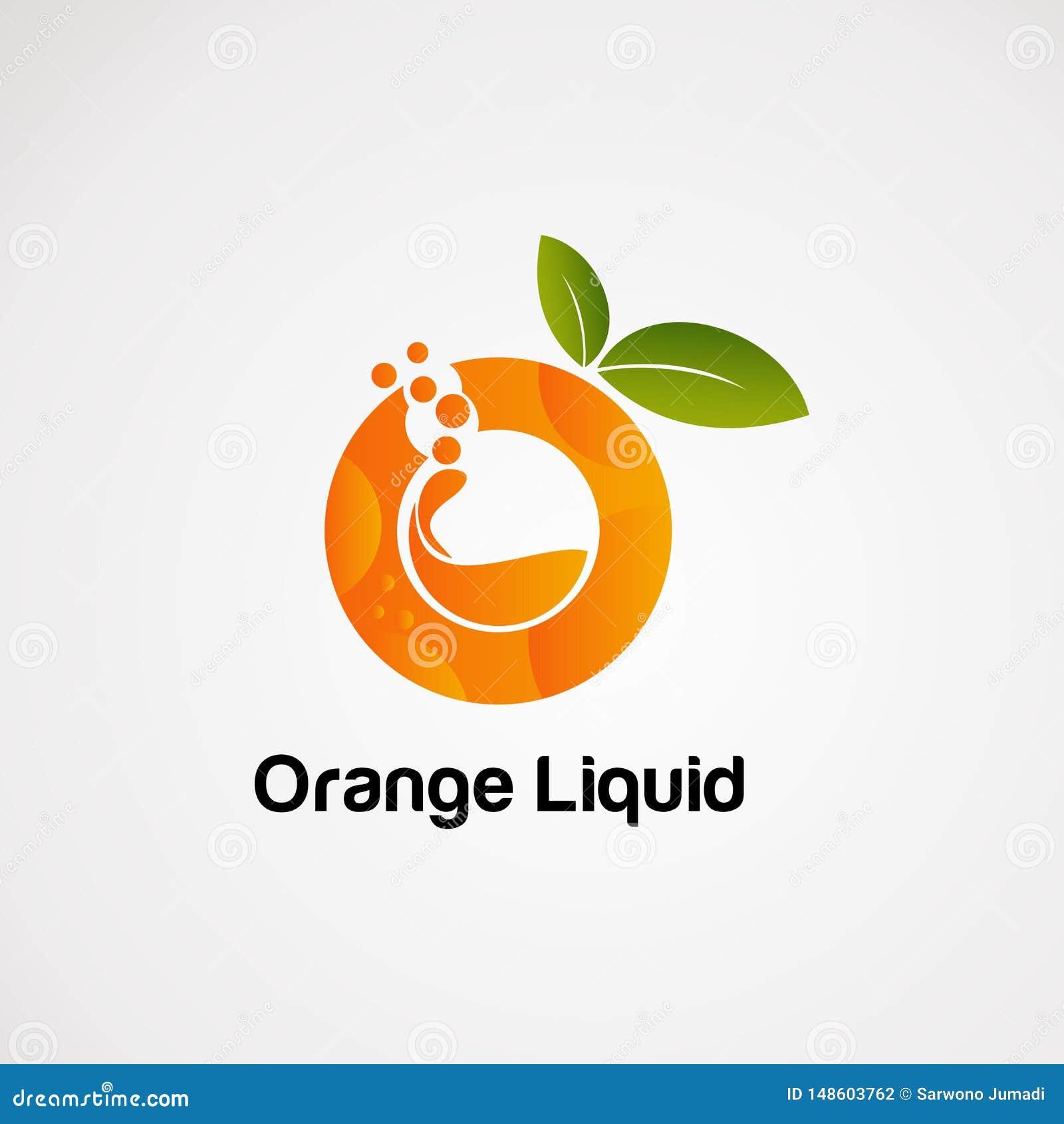 Vecteur, icône, élément, et calibre liquides oranges de logo de fruit pour la société