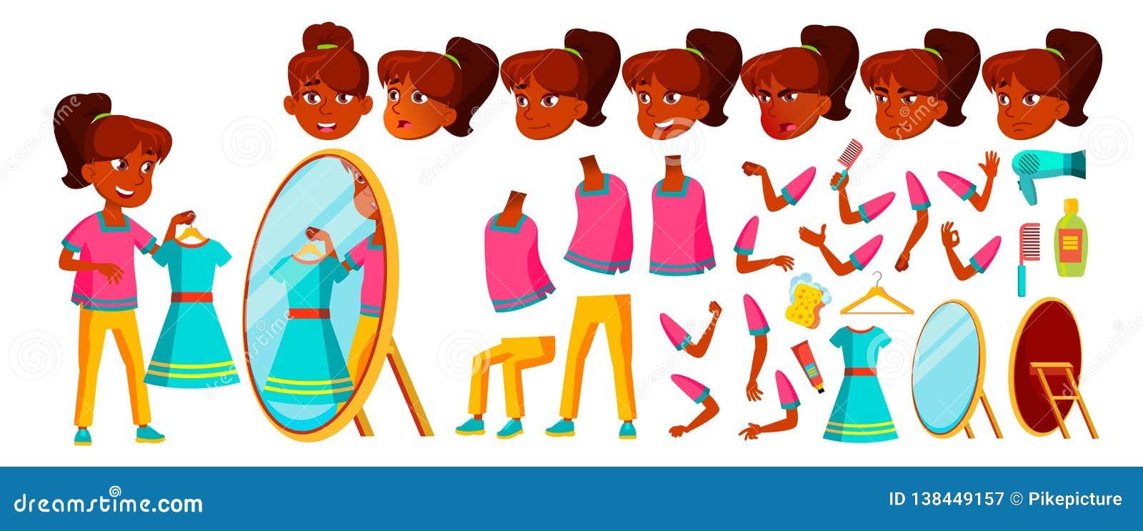Vecteur indien d enfant de fille Enfant de lycée Ensemble de création d animation Émotions de visage, gestes pupille Université,