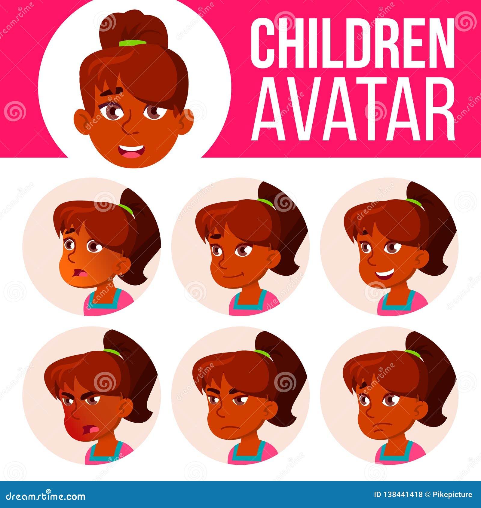 Vecteur indien d enfant d ensemble d avatar de fille Lycée Faites face aux émotions Utilisateur, caractère Acclamation, assez Ill