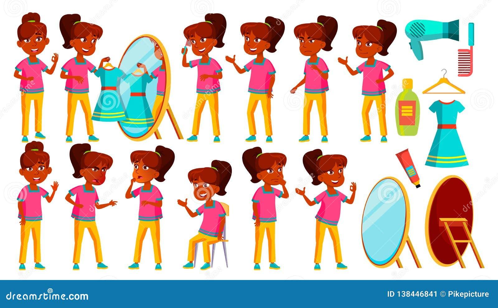 Vecteur indien d ensemble de fille Enfant Étude d enfants La connaissance, apprennent, leçon Pour la présentation, copie, concept