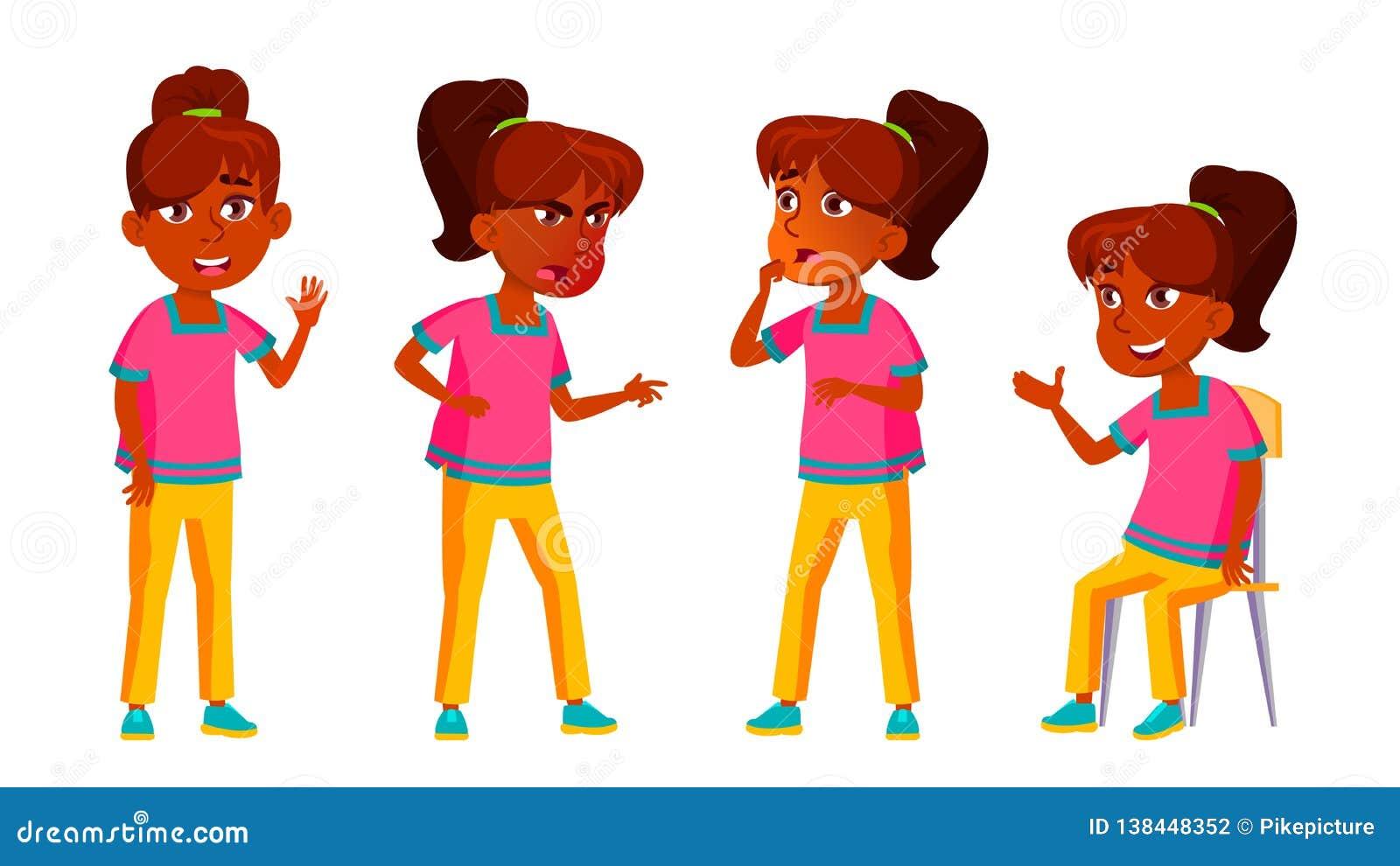 Vecteur indien d ensemble de fille Enfant de lycée Adolescent, salle de classe pour la carte postale, annonce, conception de couv