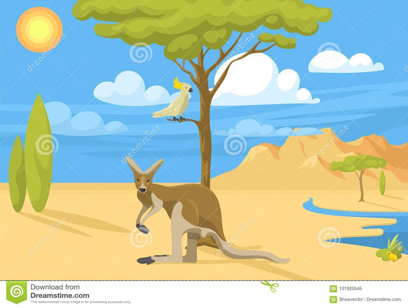 Vecteur indigène australien de forêt de fond d Australie de paysage d animaux de bande dessinée de style plat populaire sauvage d