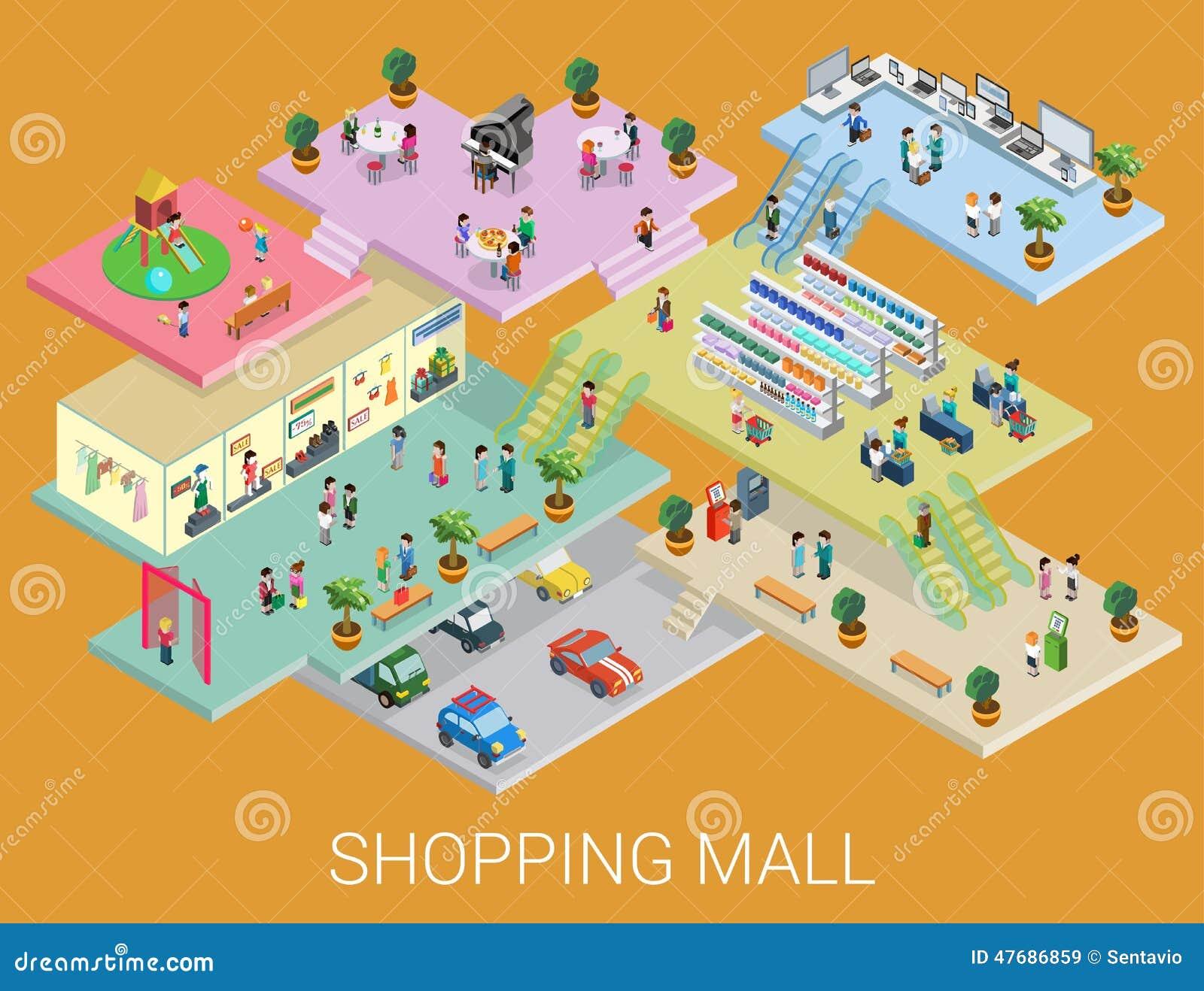 Vecteur isométrique plat de concept de centre commercial 3d