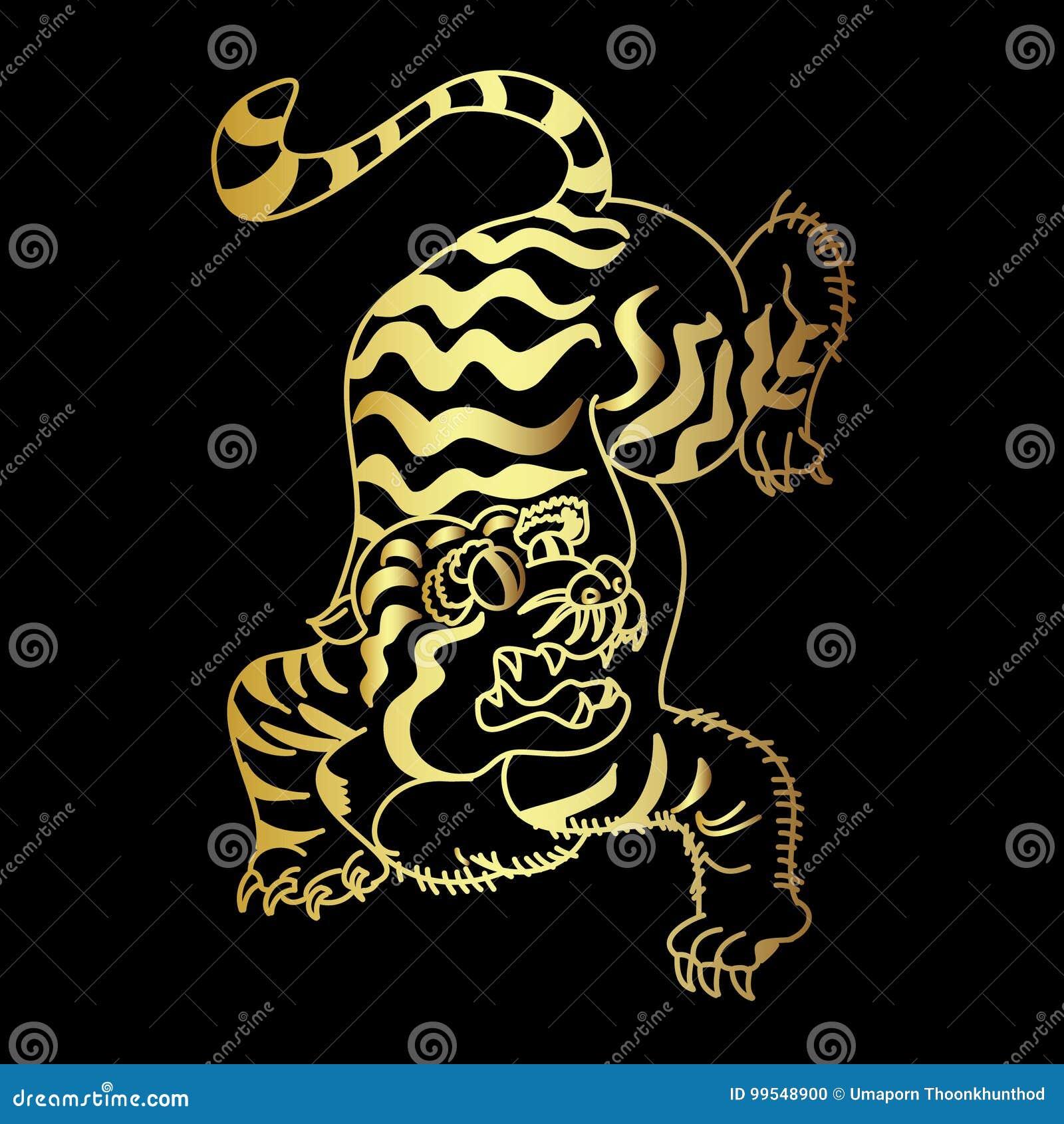 Vecteur Japonais De Conception De Tatouage De Tigre D Or