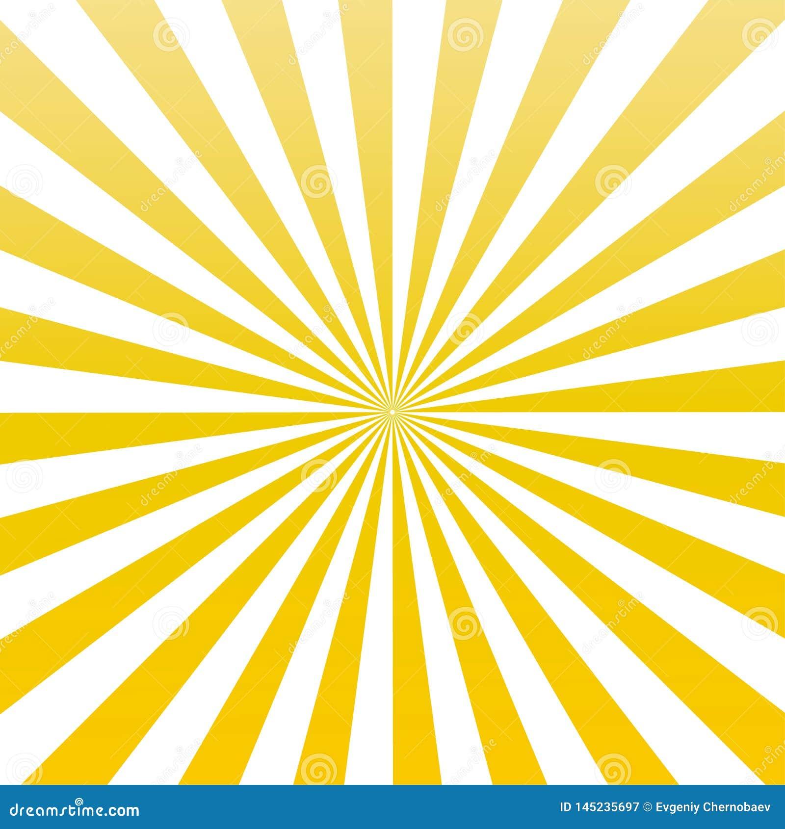 Vecteur jaune eps10 de modèle de rayon de soleil de rayons du soleil de couleur le soleil jaune rayonne le fond de rayon de sole
