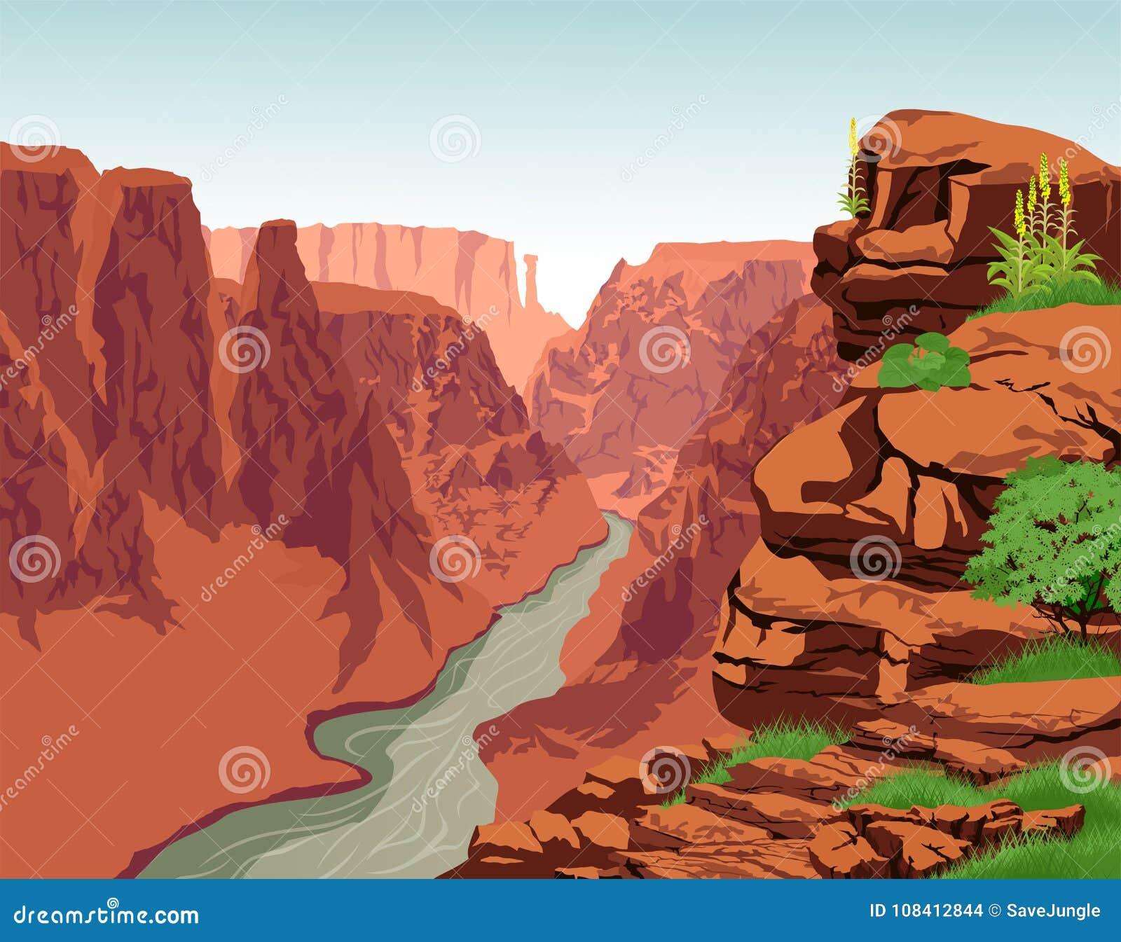 Vecteur le fleuve Colorado en parc national de Grand Canyon
