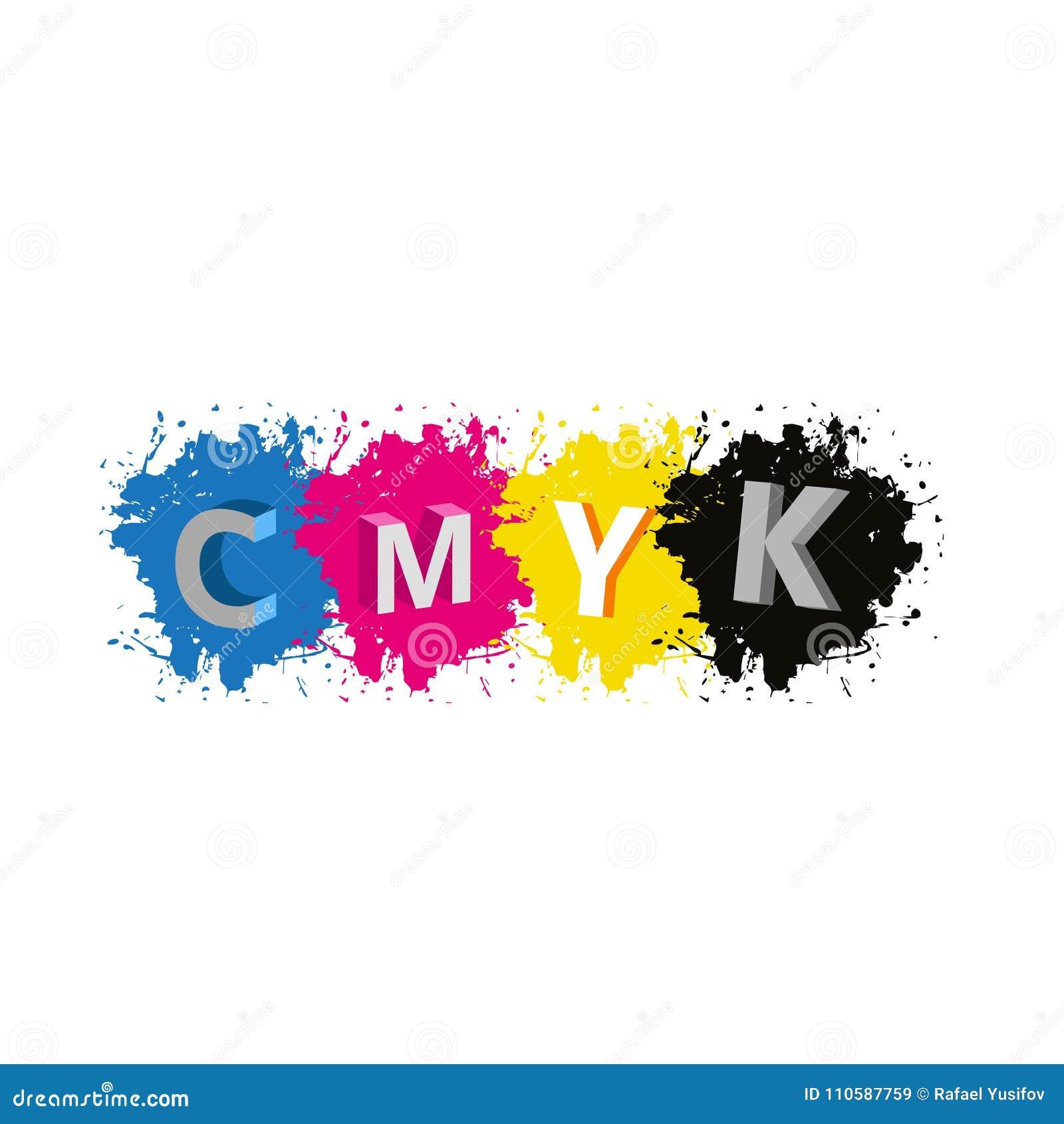 Vecteur - lettres de 3d CMYK avec le fond d éclaboussure de peinture