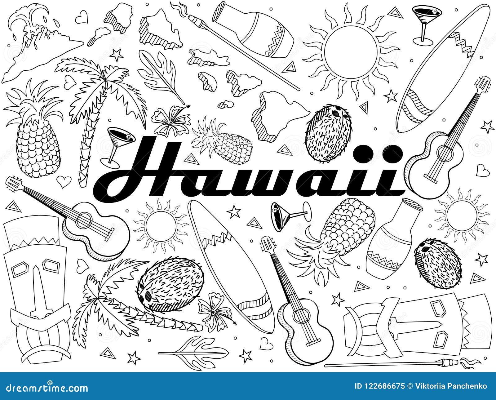 Coloriage Fleur Hawai.Vecteur Livre De Coloriage D Hawai De Conception De Schema Objets