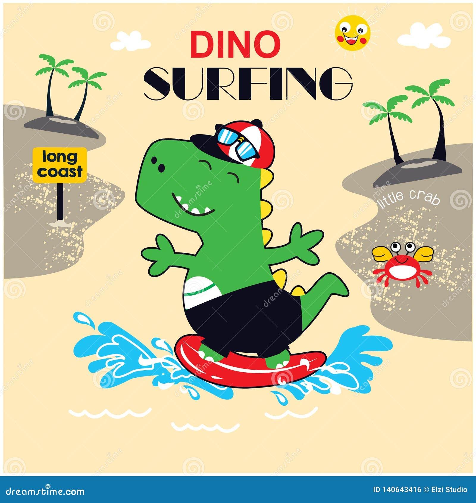 Vecteur mignon d illustration de surfer de dinosaure