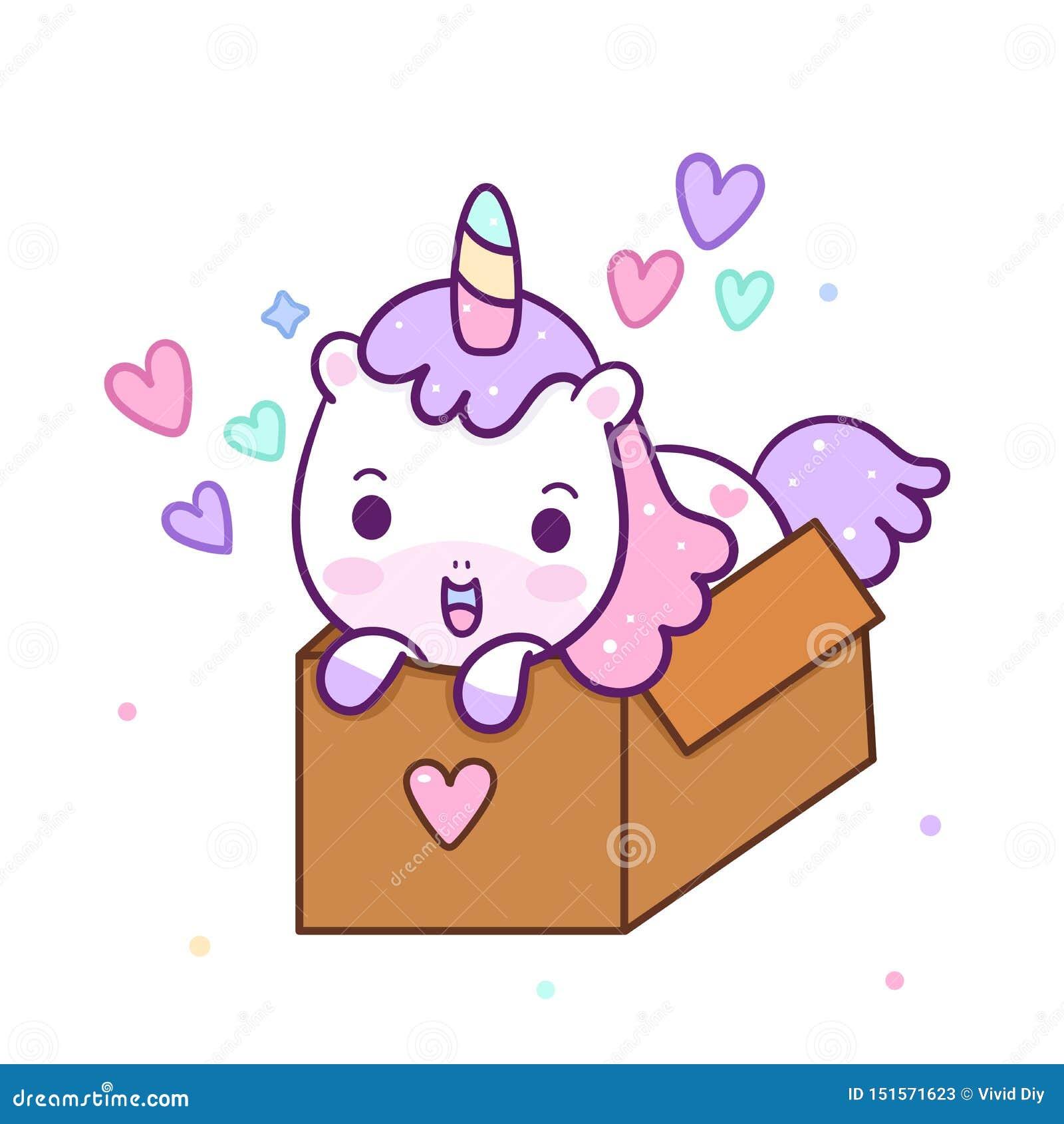 Vecteur mignon de licorne dans la boîte pour la couleur en pastel de joyeux anniversaire, bande dessinée de poney de Kawaii, anni