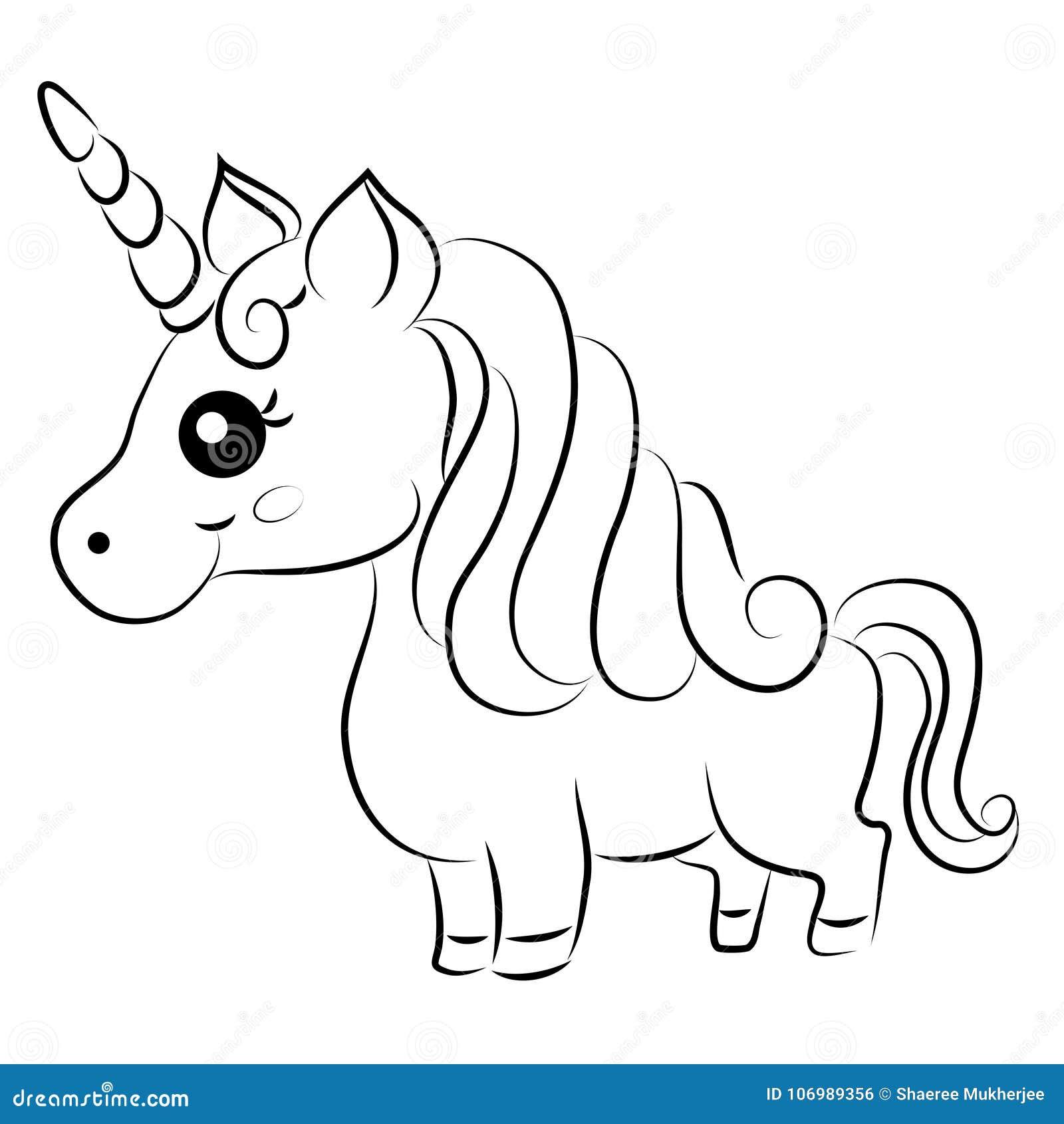 Vecteur Mignon Unicorn Coloring Page De Bande Dessinee