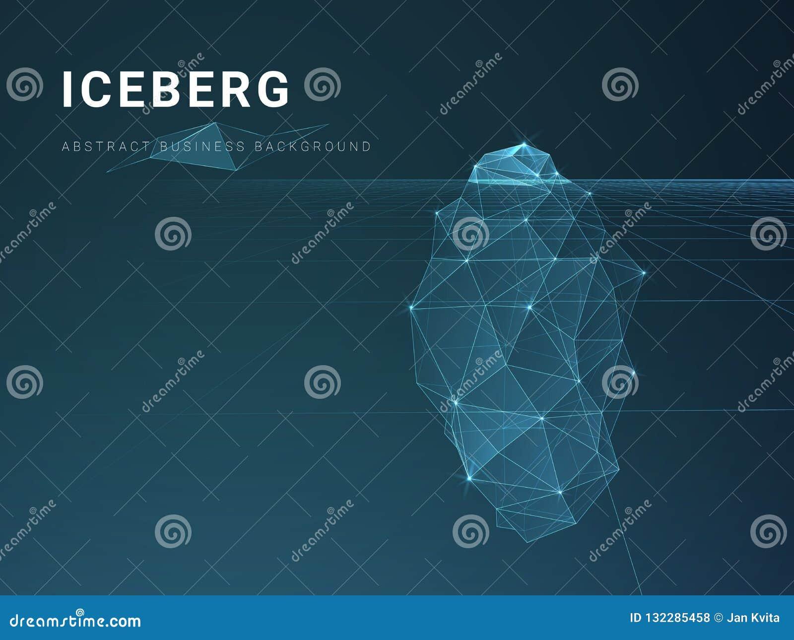 Vecteur moderne abstrait de fond d affaires avec des étoiles et des lignes dans la forme d un iceberg sur le fond bleu