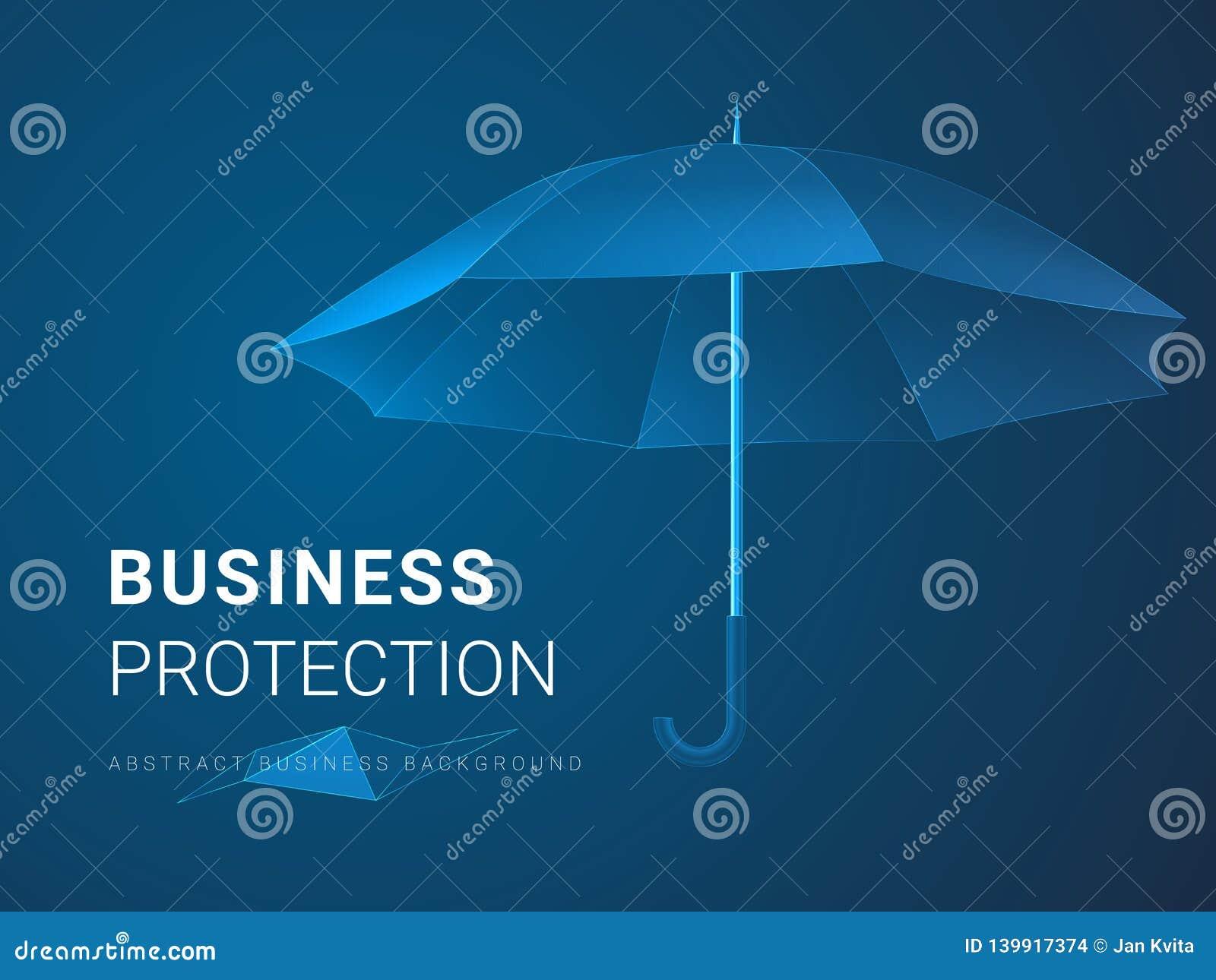 Vecteur moderne abstrait de fond d affaires dépeignant la protection d affaires dans la forme d un parapluie sur le fond bleu