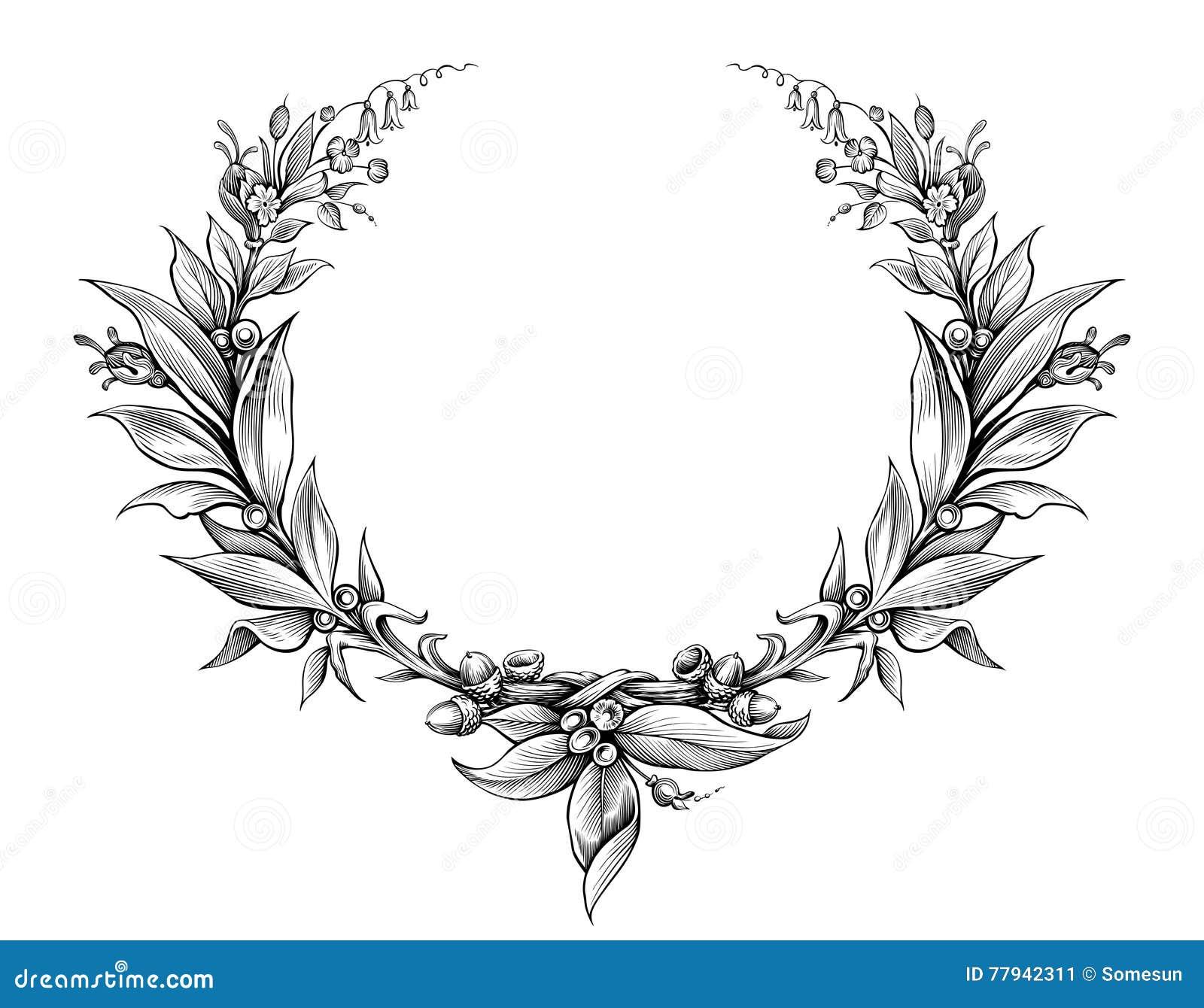 Vecteur Noir Et Blanc De Tatouage De Fleur Gravé Par Feuille