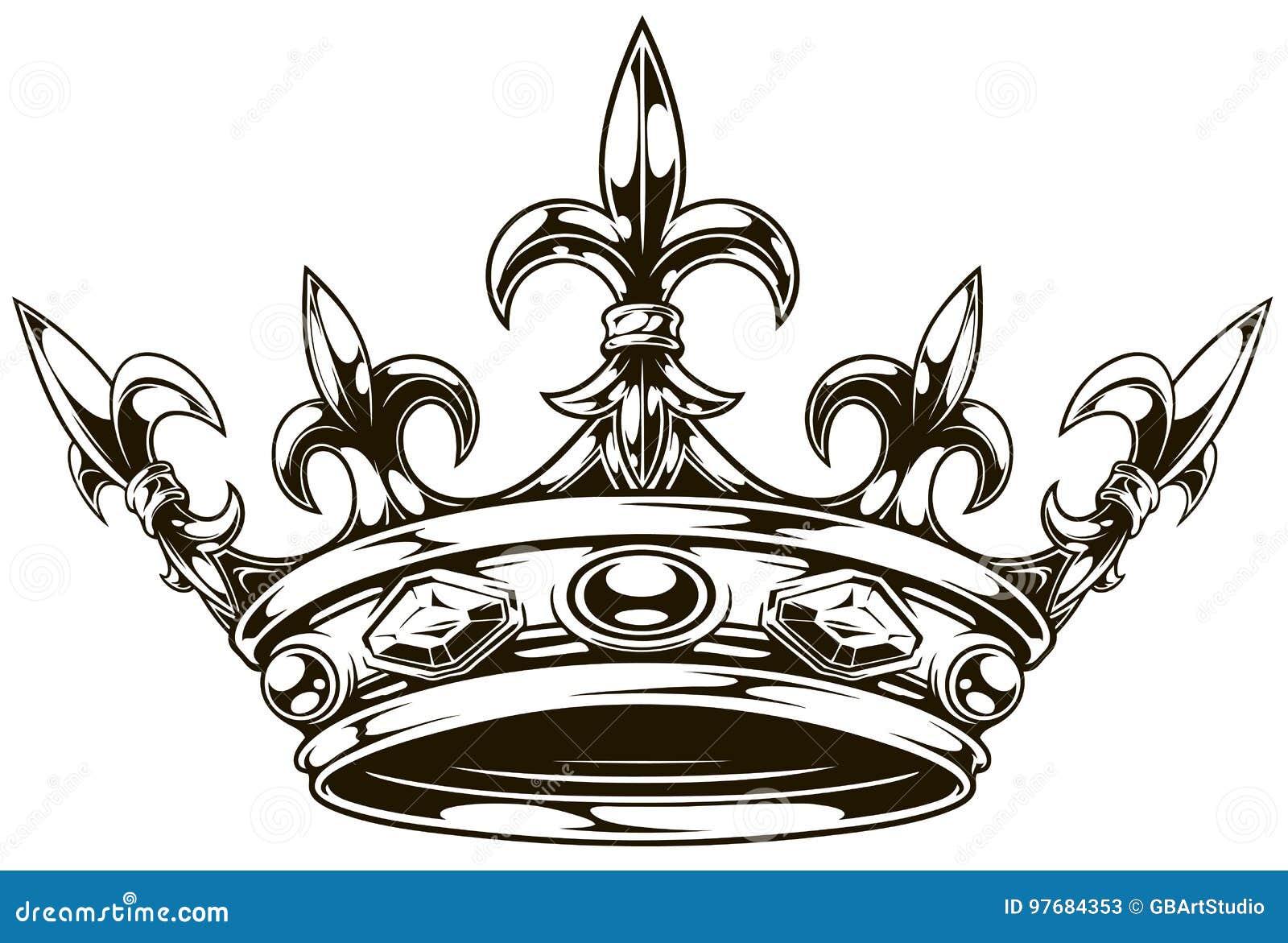 Vecteur noir et blanc graphique de couronne de roi