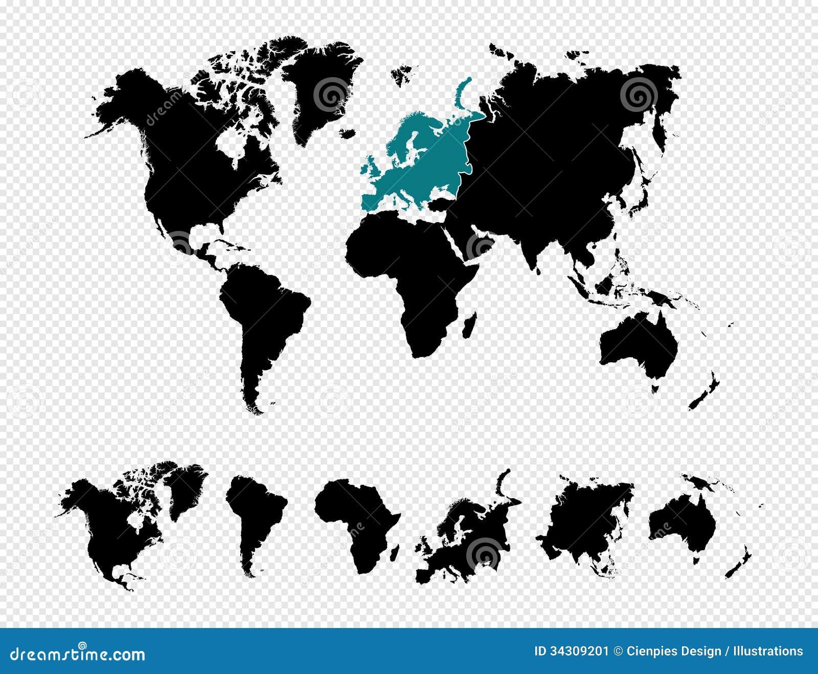 vecteur noir f de la carte eps10 du monde de silhouette image stock image 34309201. Black Bedroom Furniture Sets. Home Design Ideas
