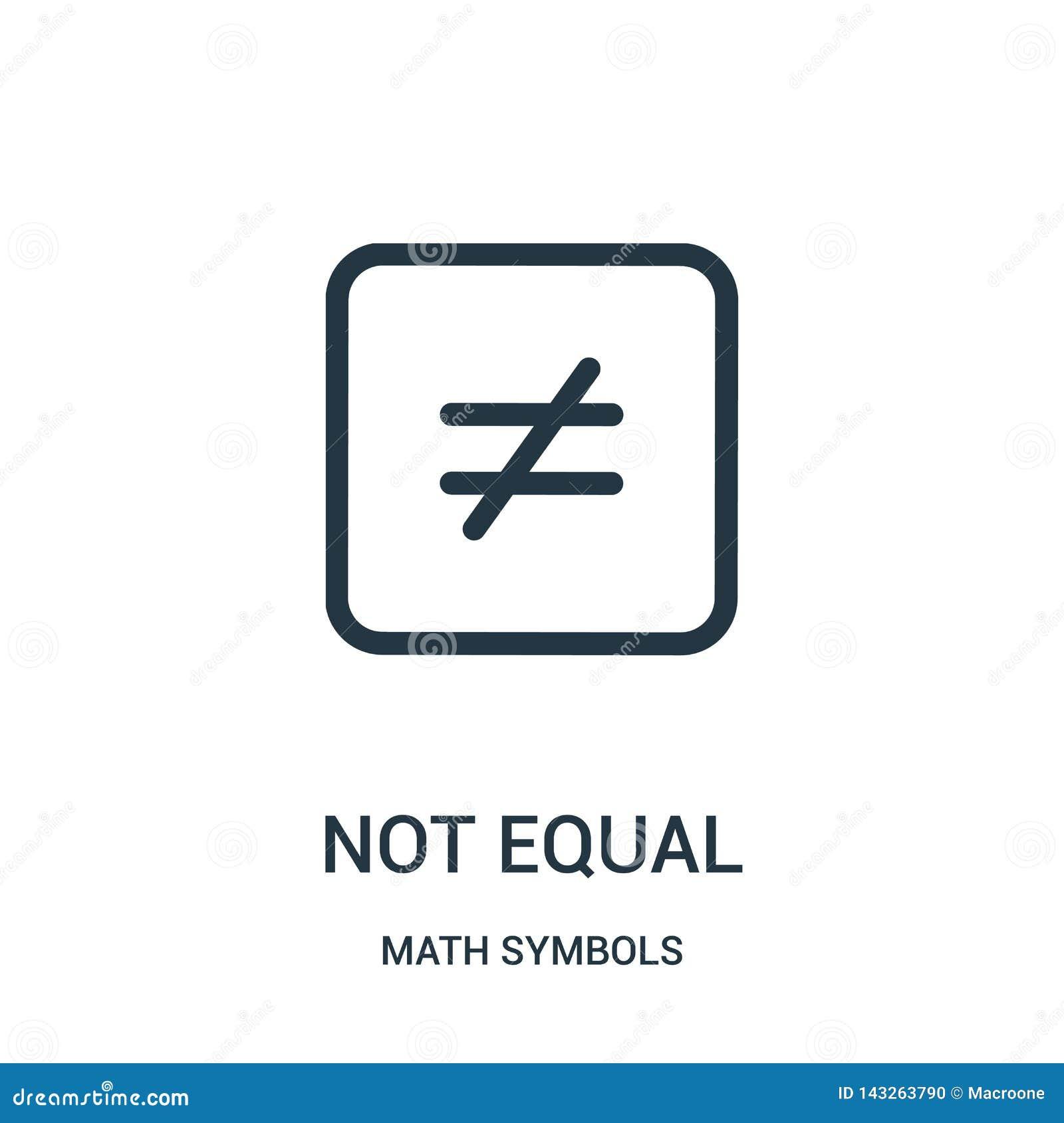 Vecteur non égal d icône de collection de symboles de maths Ligne mince illustration non égale de vecteur d icône d ensemble