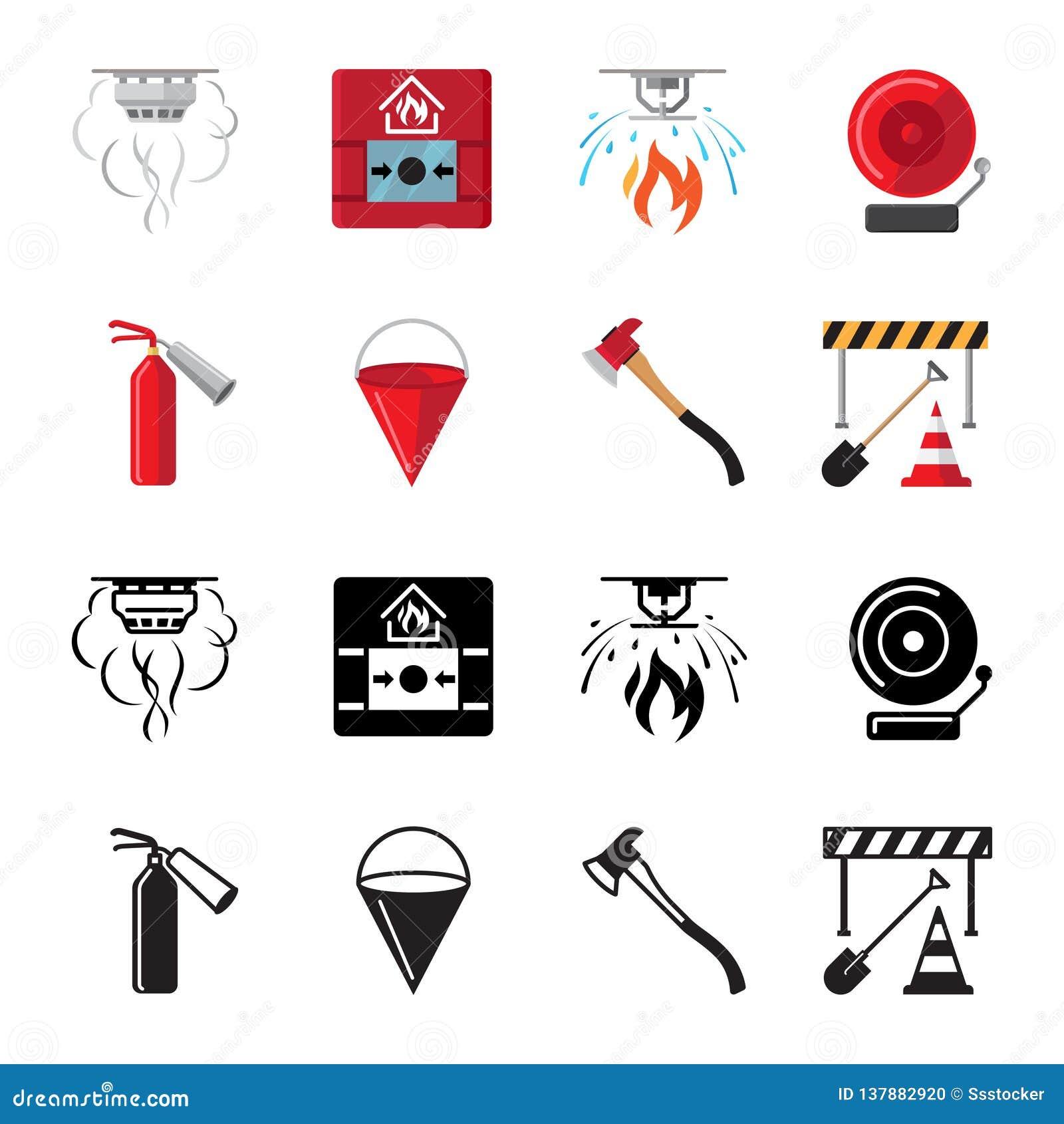Vecteur plat d icônes de sécurité incendie d ensemble