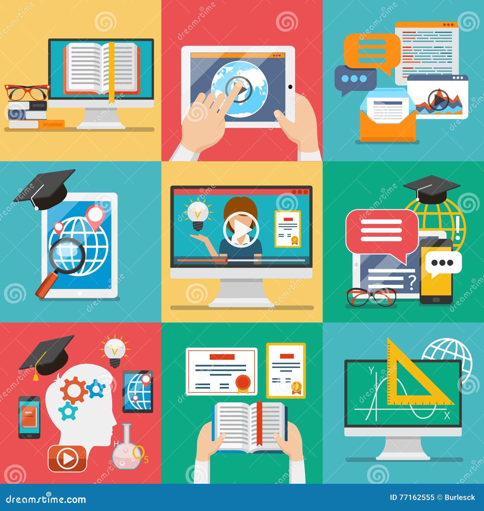 Vecteur plat d icônes d éducation en ligne