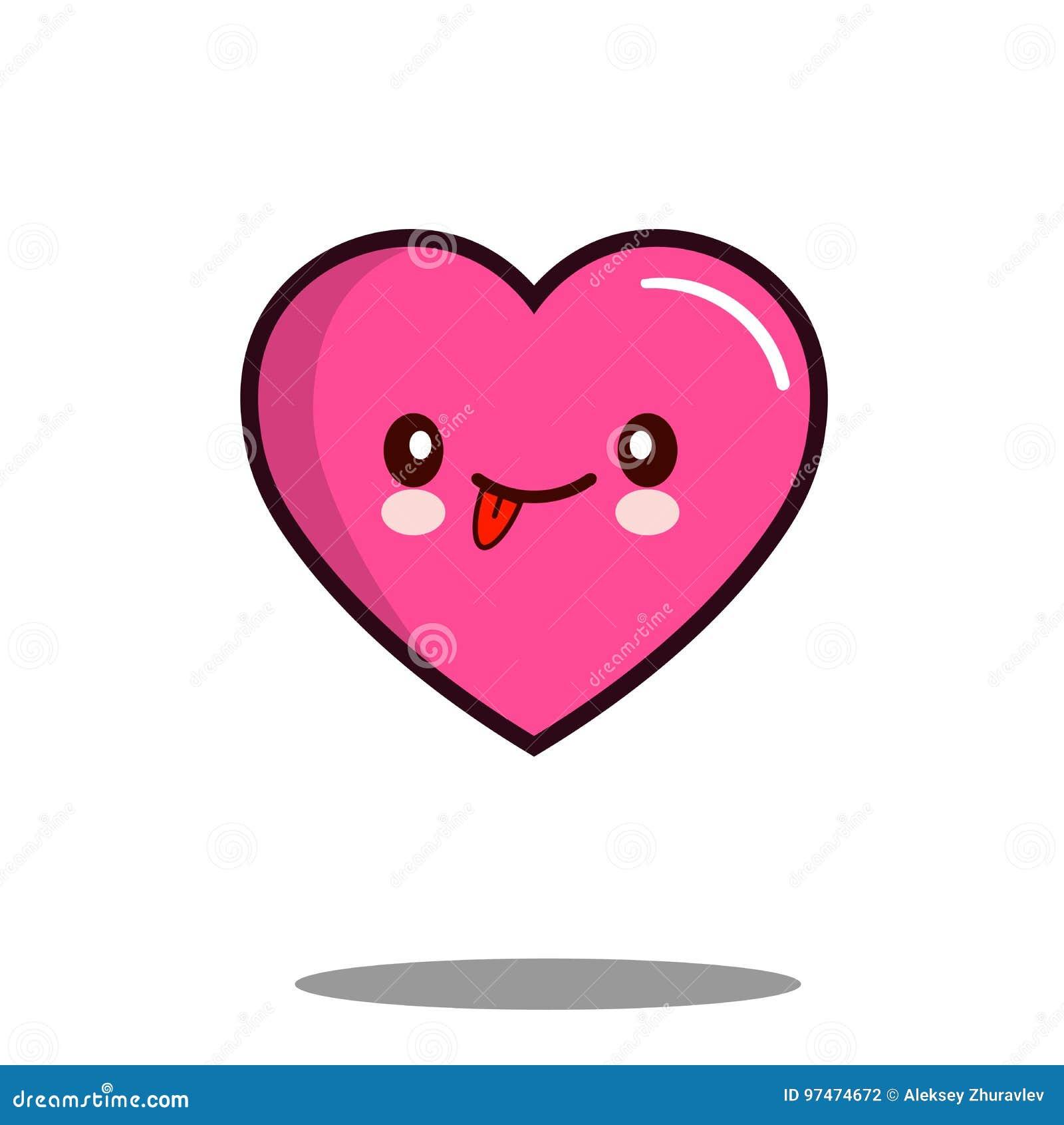 Vecteur Plat De Conception D Amour D émoticône De Coeur De