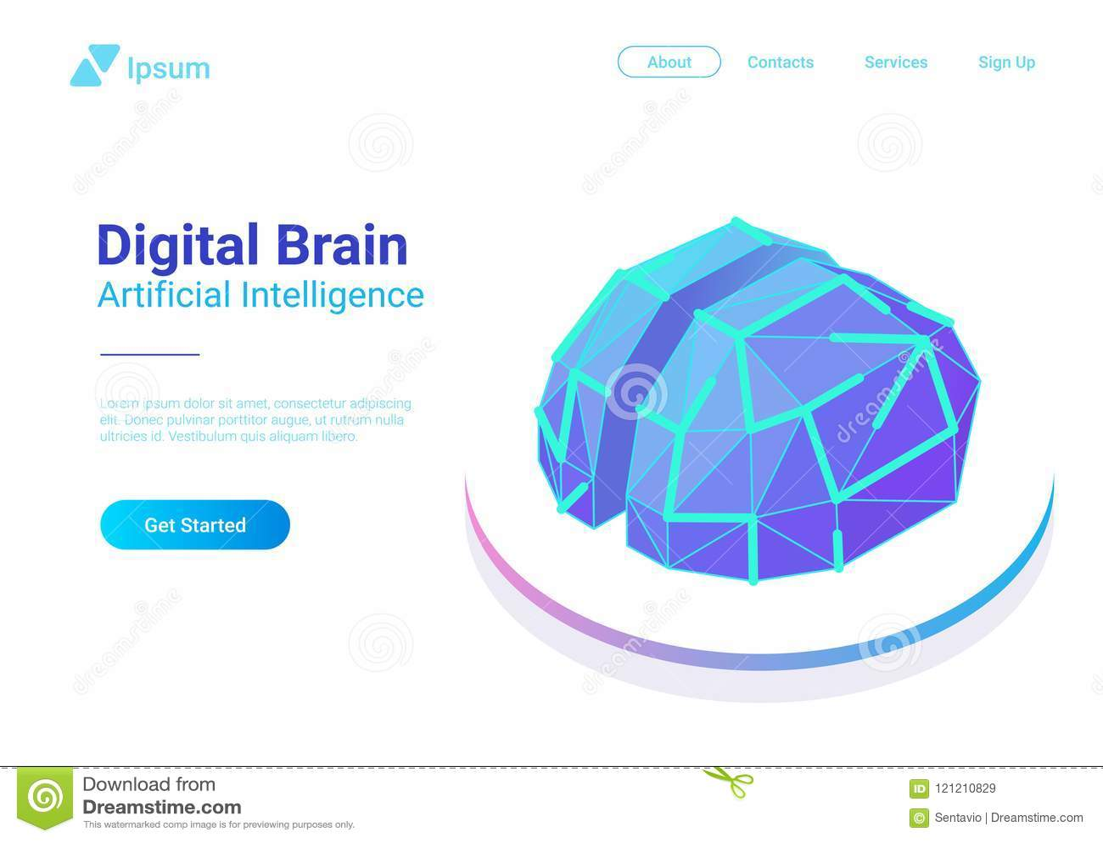 Vecteur plat de Digital Brain Isometric Artificiel dedans