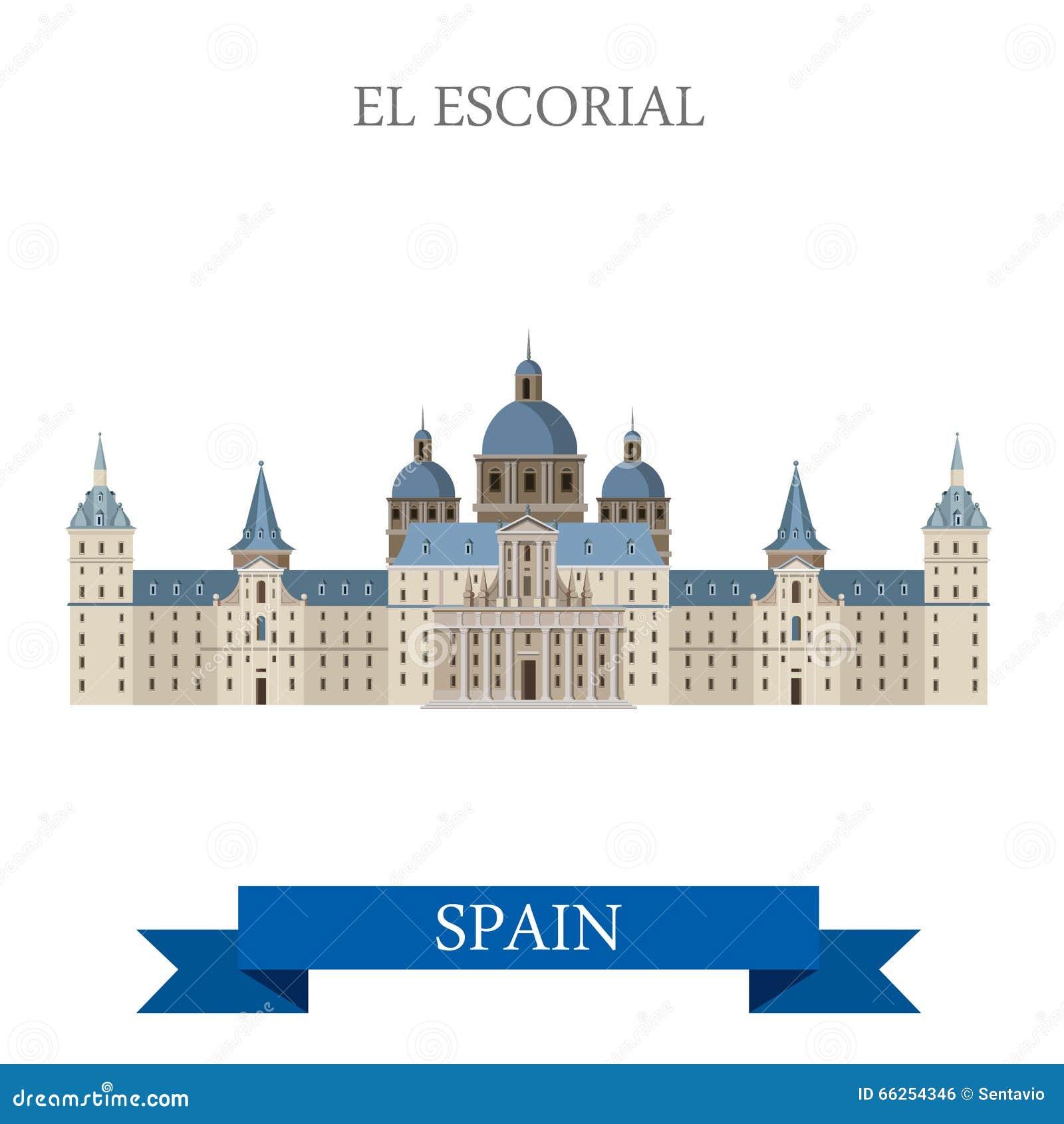 Vecteur plat du Roi Residence Madrid Spain de monastère d EL Escorial