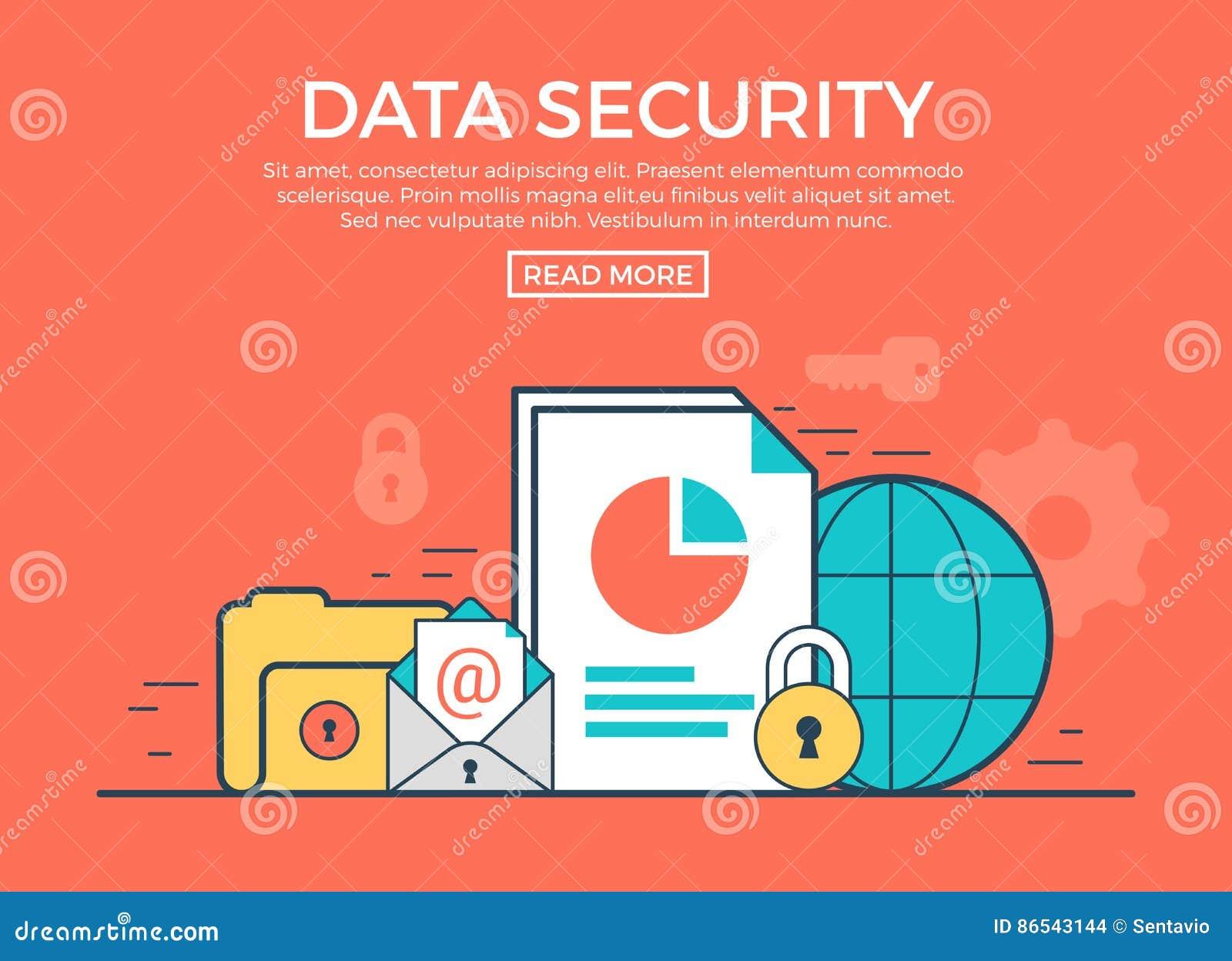 Vecteur plat linéaire d infographics de protection des données app