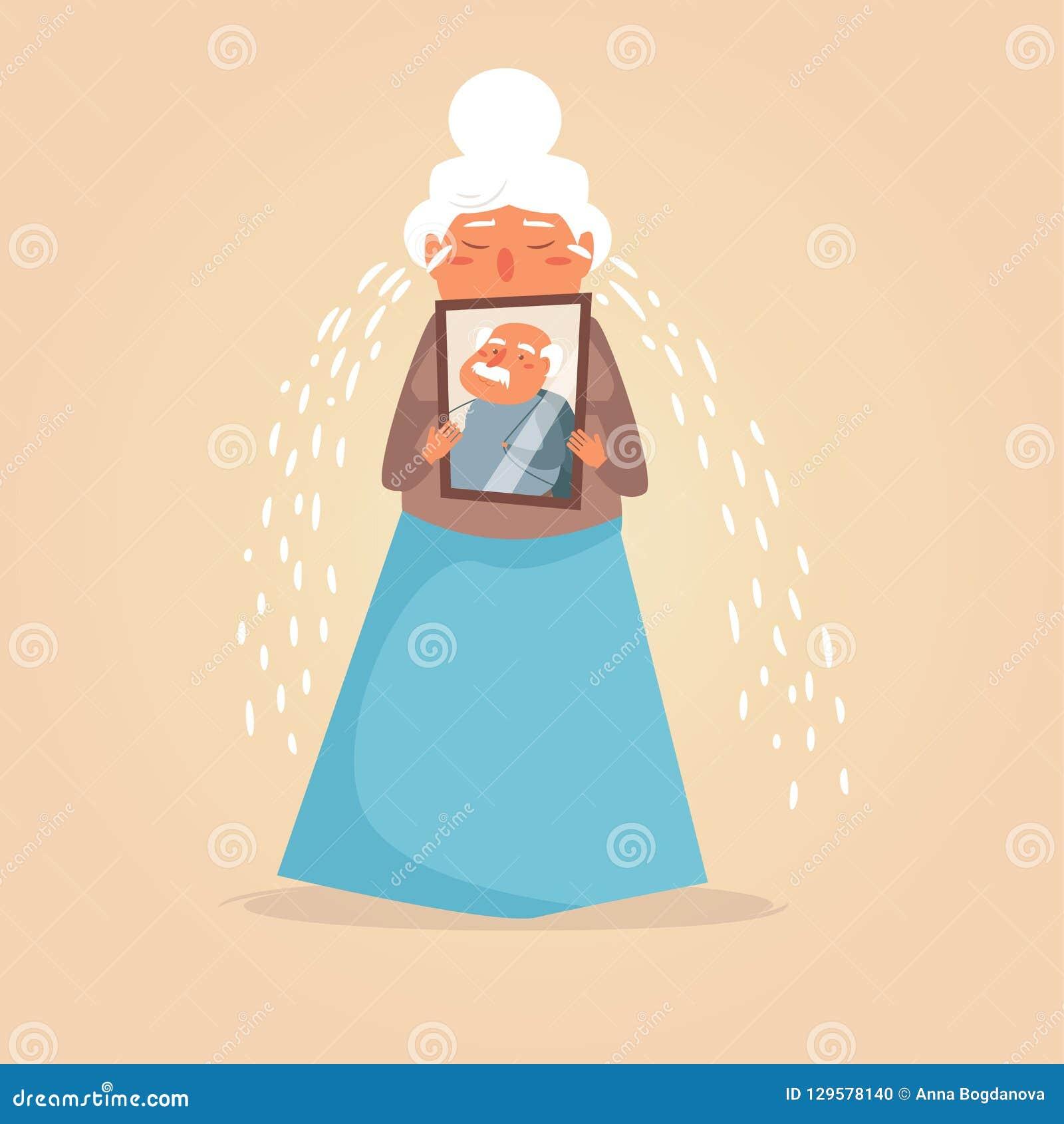 Vecteur pleurant de femme de personne âgée cartoon Art d isolement sur le fond blanc plat