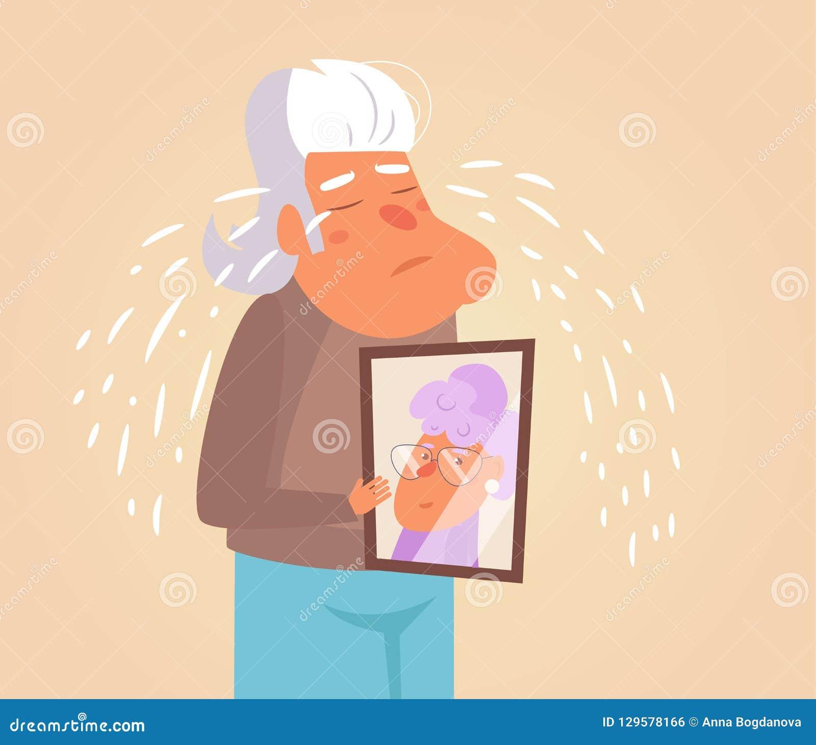 Vecteur pleurant de personne âgée cartoon Art d isolement sur le fond blanc