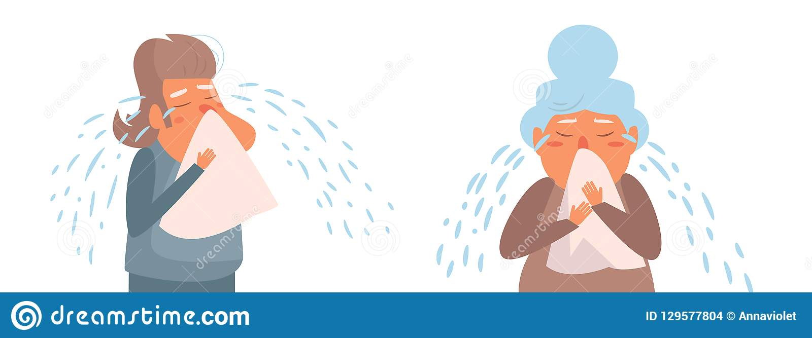 Vecteur pleurant de personne âgée cartoon Art d isolement sur le fond blanc plat