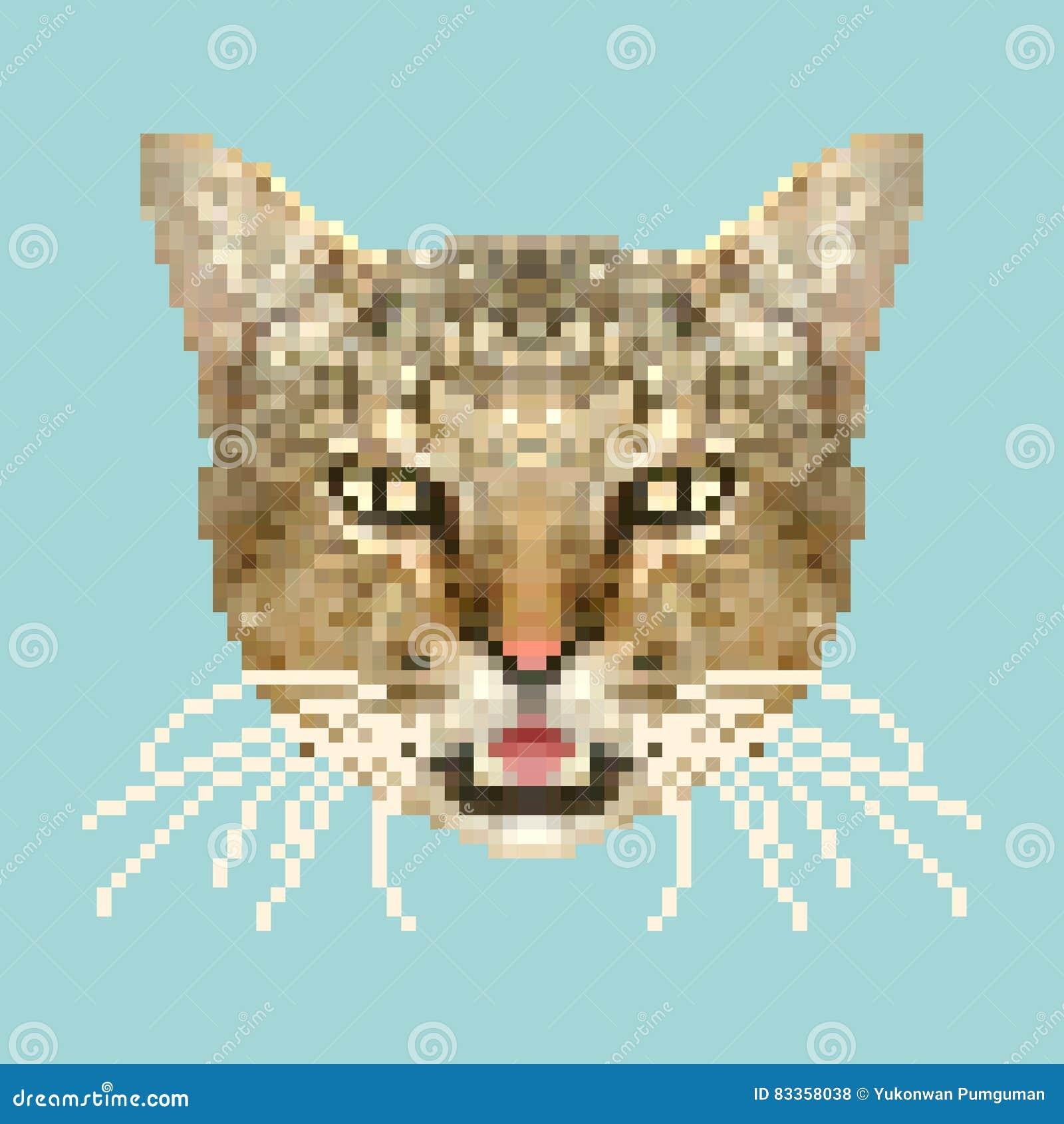 Vecteur Principal Dart De Pixel De Chat Animal Carré D