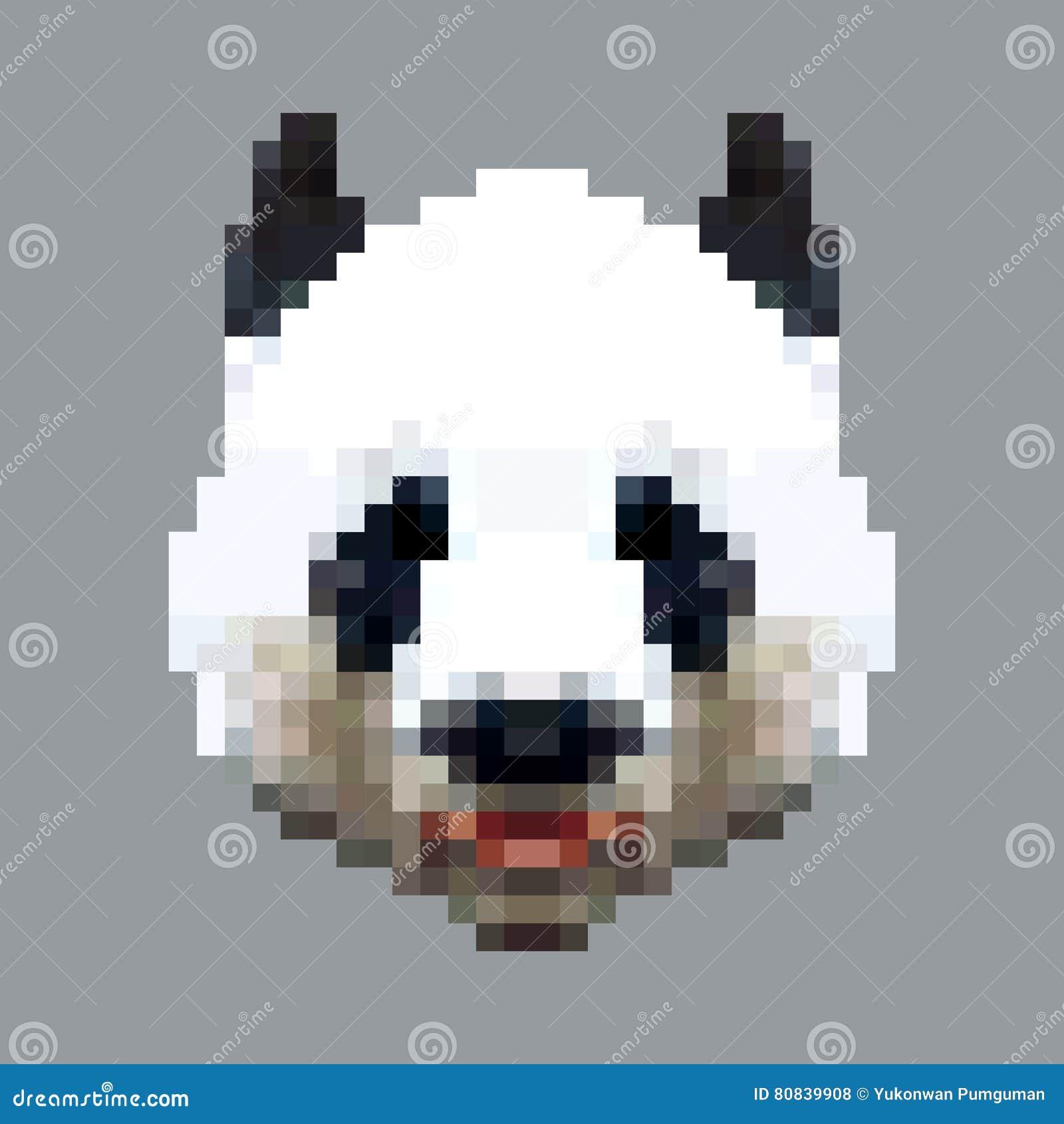 Vecteur Principal Dart De Pixel De Panda Animal Carré