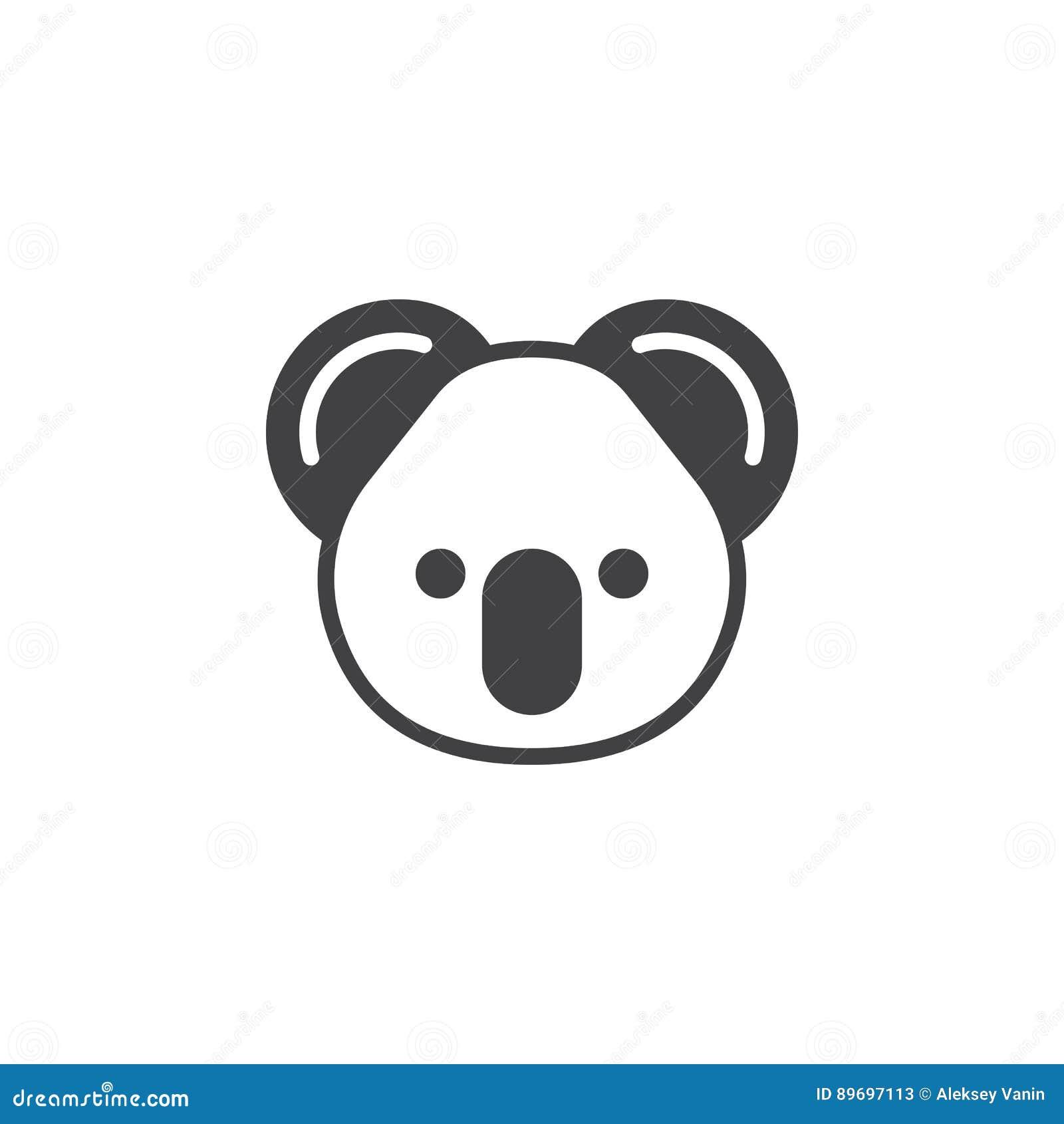 Vecteur principal d icône de koala, signe plat rempli