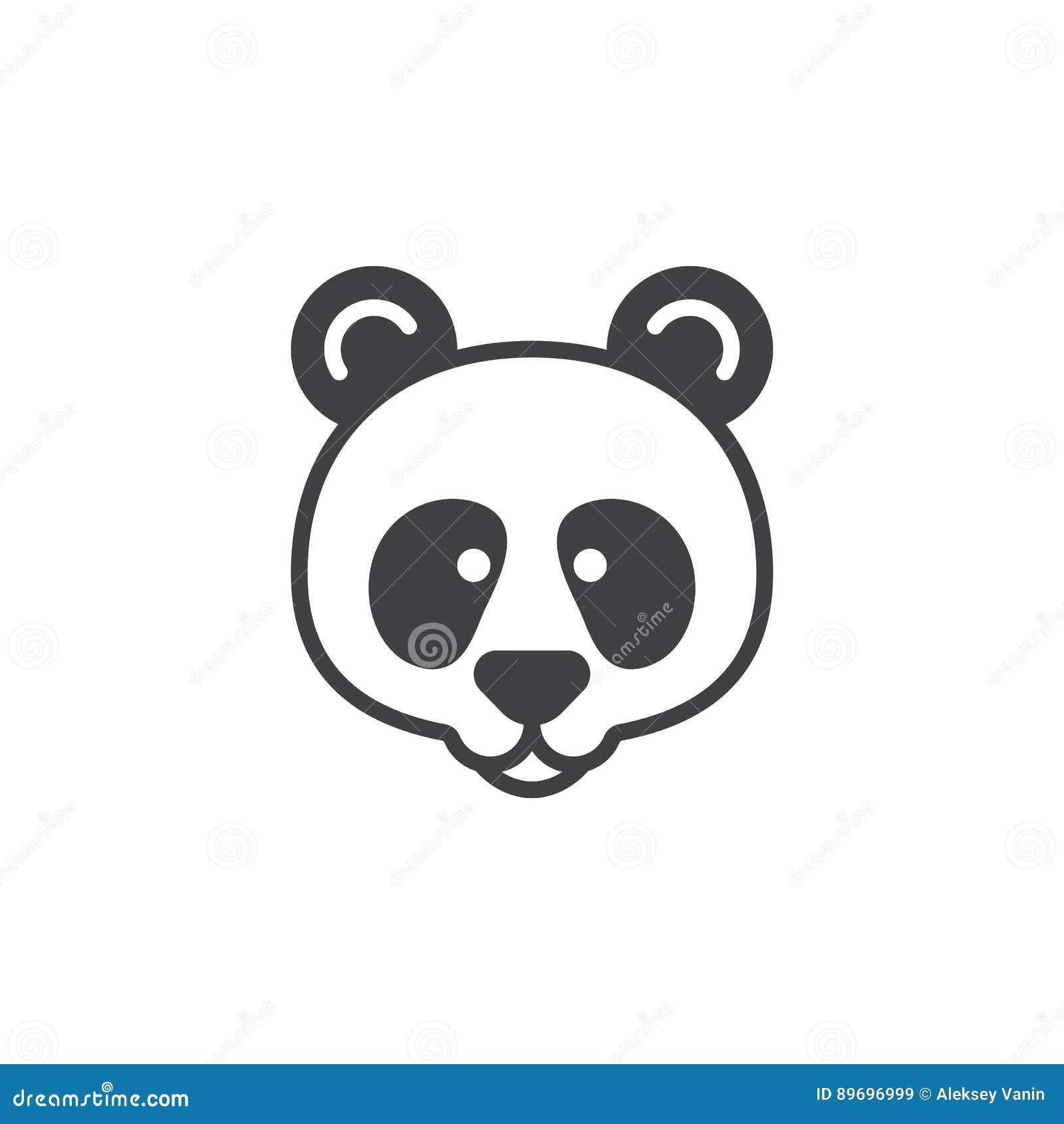 Vecteur principal d icône de panda, signe plat rempli