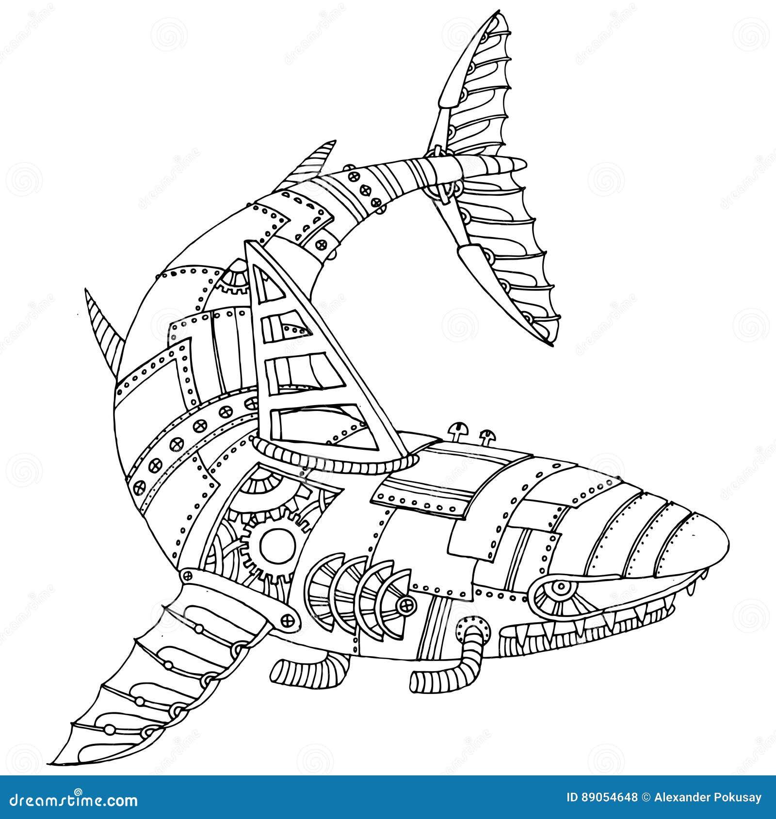 Vecteur punk de livre de coloriage de requin de style de vapeur illustration de vecteur - Requin en dessin ...