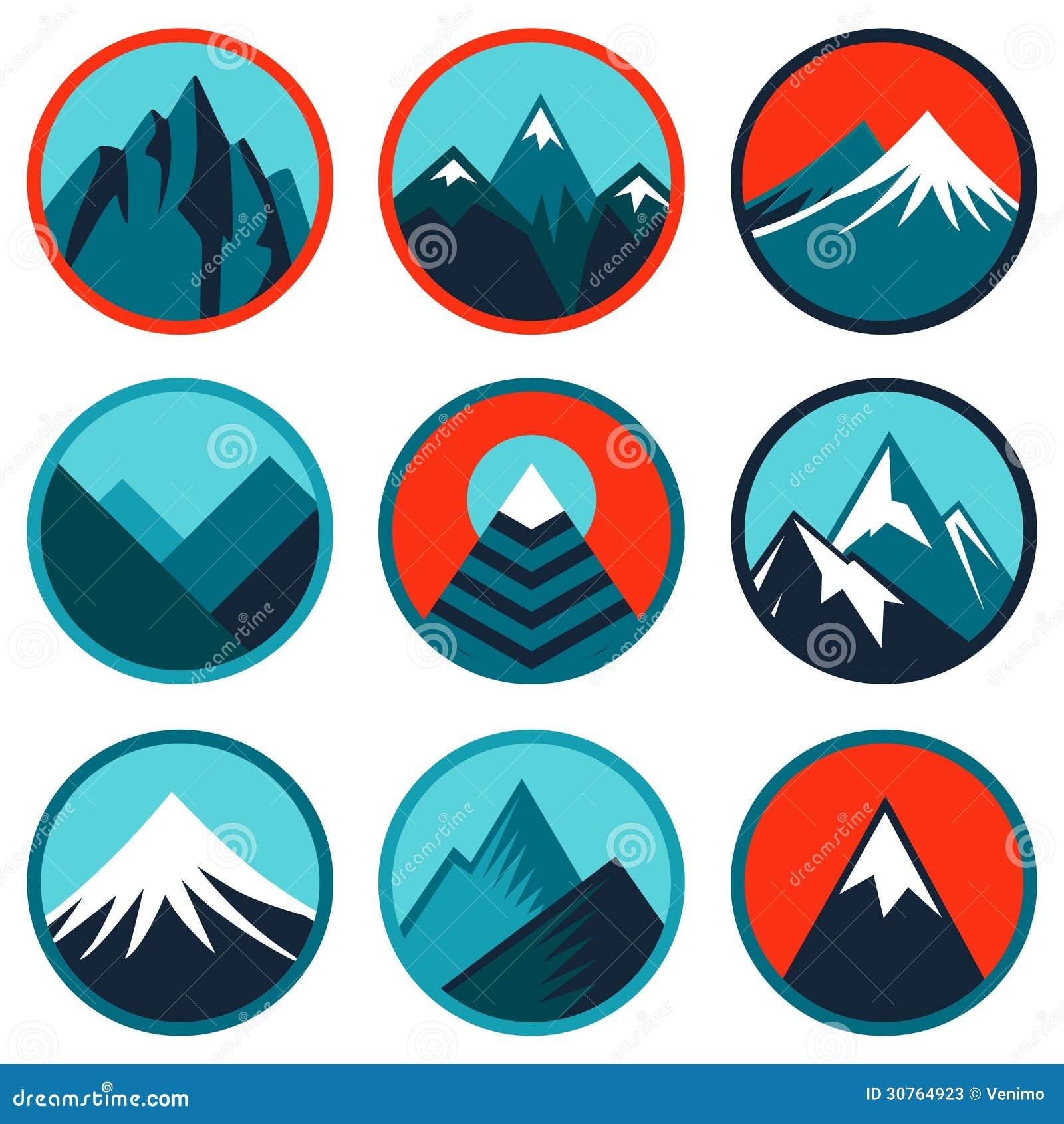 Vecteur réglé avec des logos abstraits - montagnes