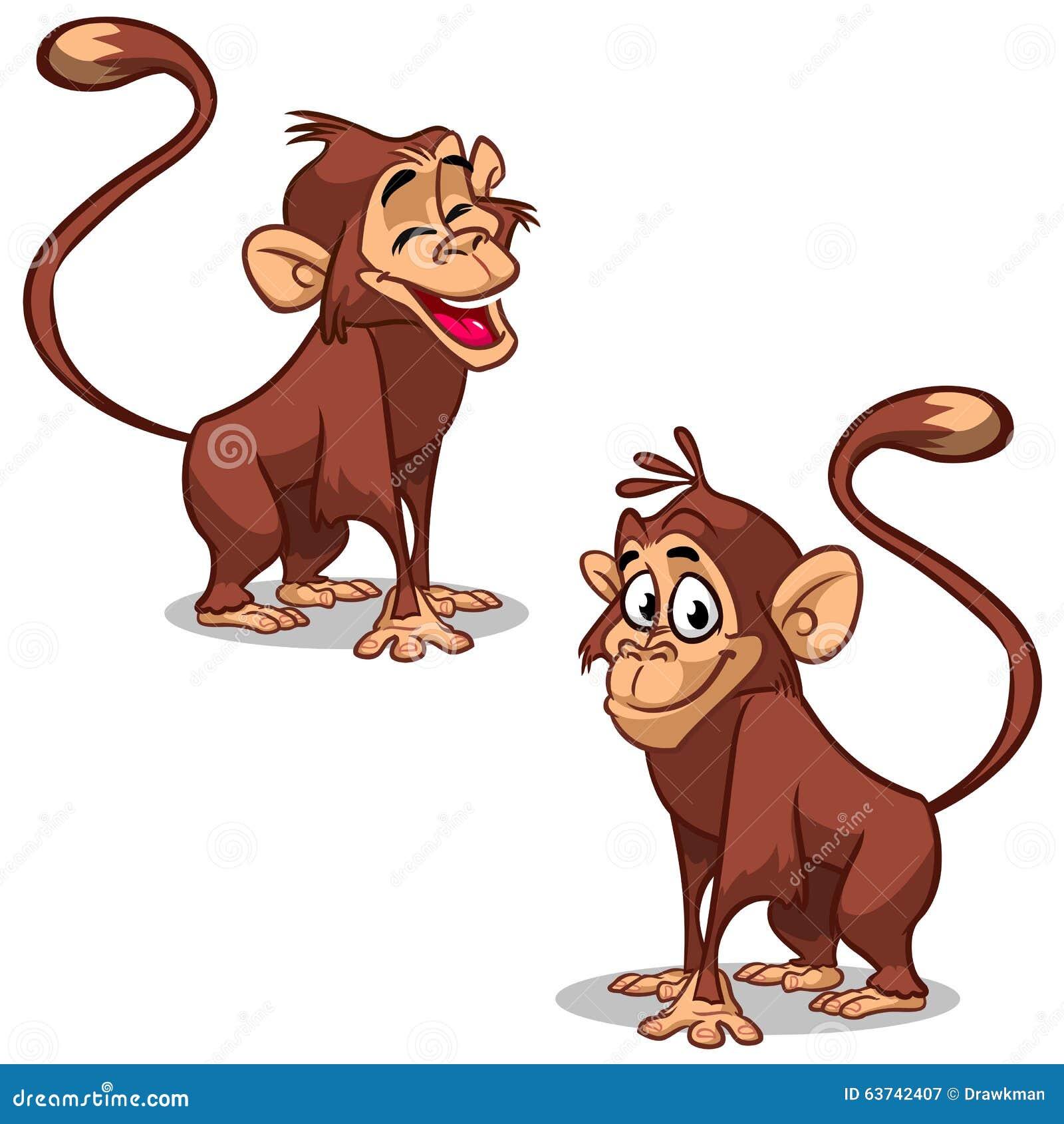 Vecteur réglé avec des visages d émotion de singe Petits singes mignons