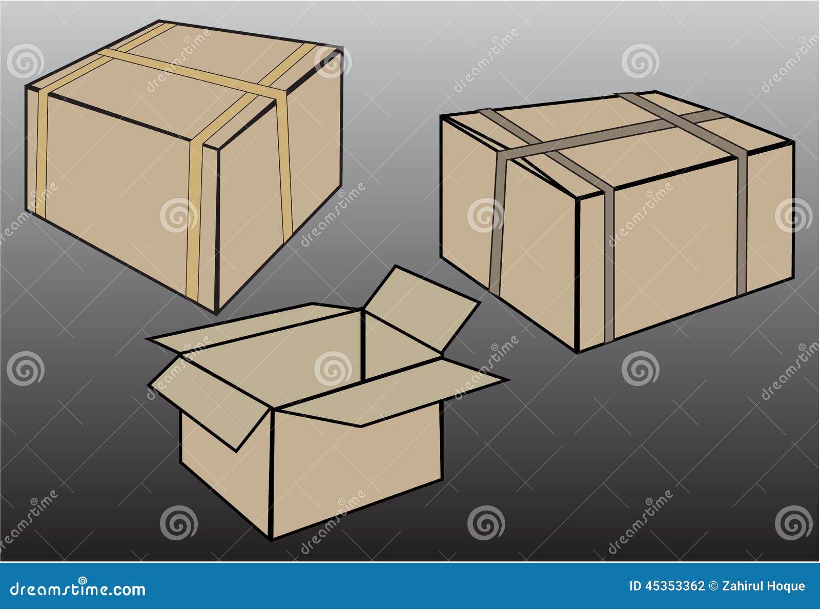 Vecteur réglé de boîte de carton