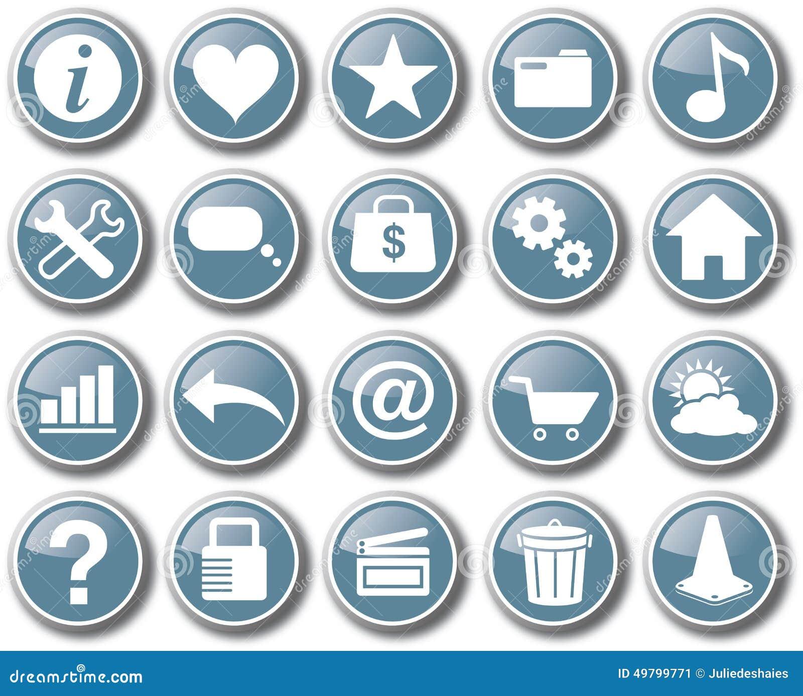 Vecteur réglé de bouton d icône de Web d Internet
