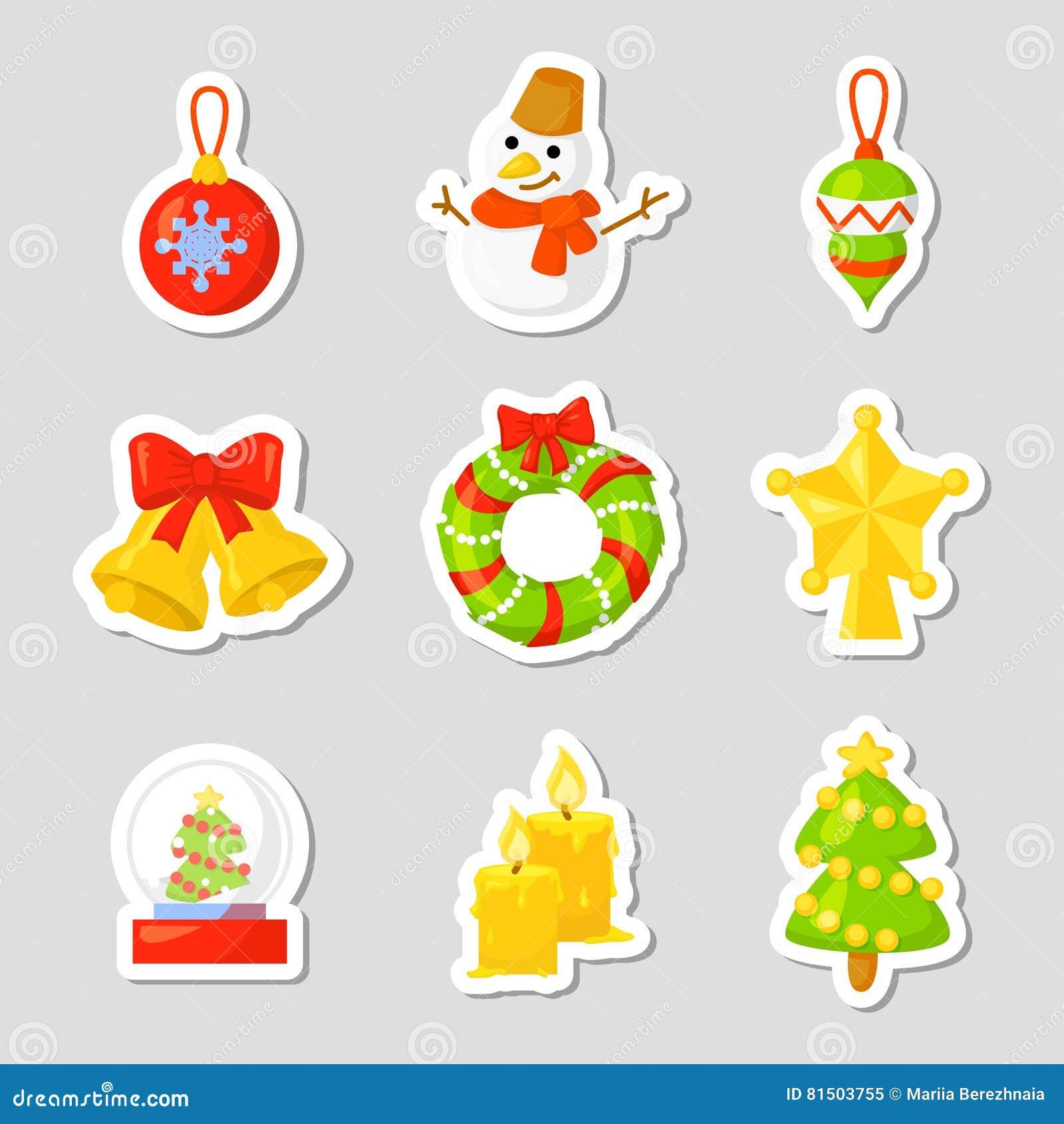 Vecteur réglé de collection d icône de Noël cartoon Symboles traditionnels de nouvelle année objets d icônes D isolement