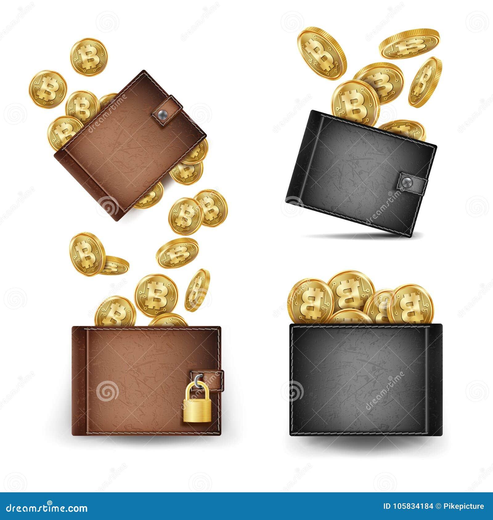 Vecteur réglé de portefeuille de Bitcoin Pièces d or de Bitcoin 3d réaliste Brown et portefeuille noir de Bitcoin Argent Front Si