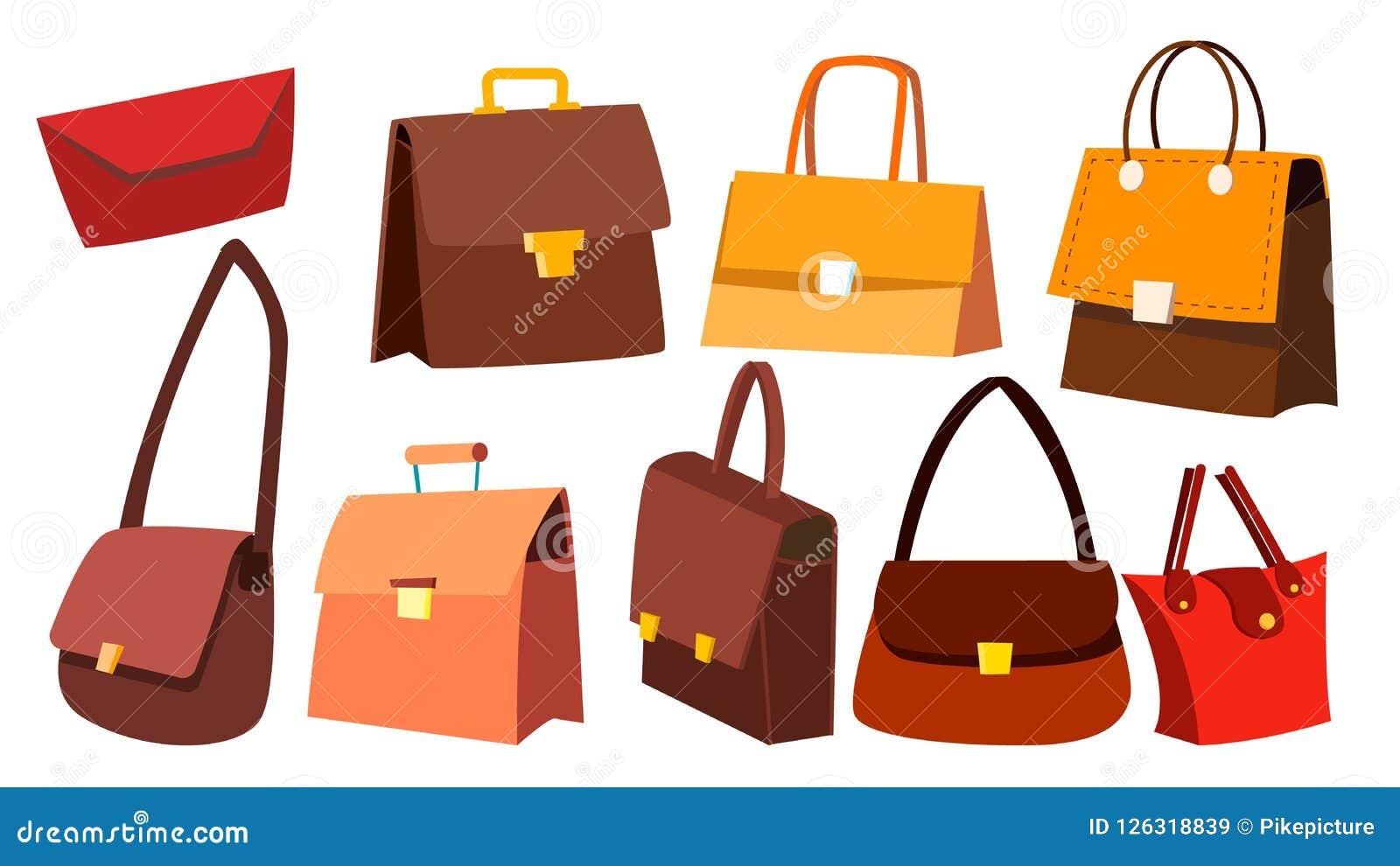 Vecteur réglé de sac en cuir Rétros accessoires de mode de vintage de femme Luxe de sac à main Illustration d isolement de bande