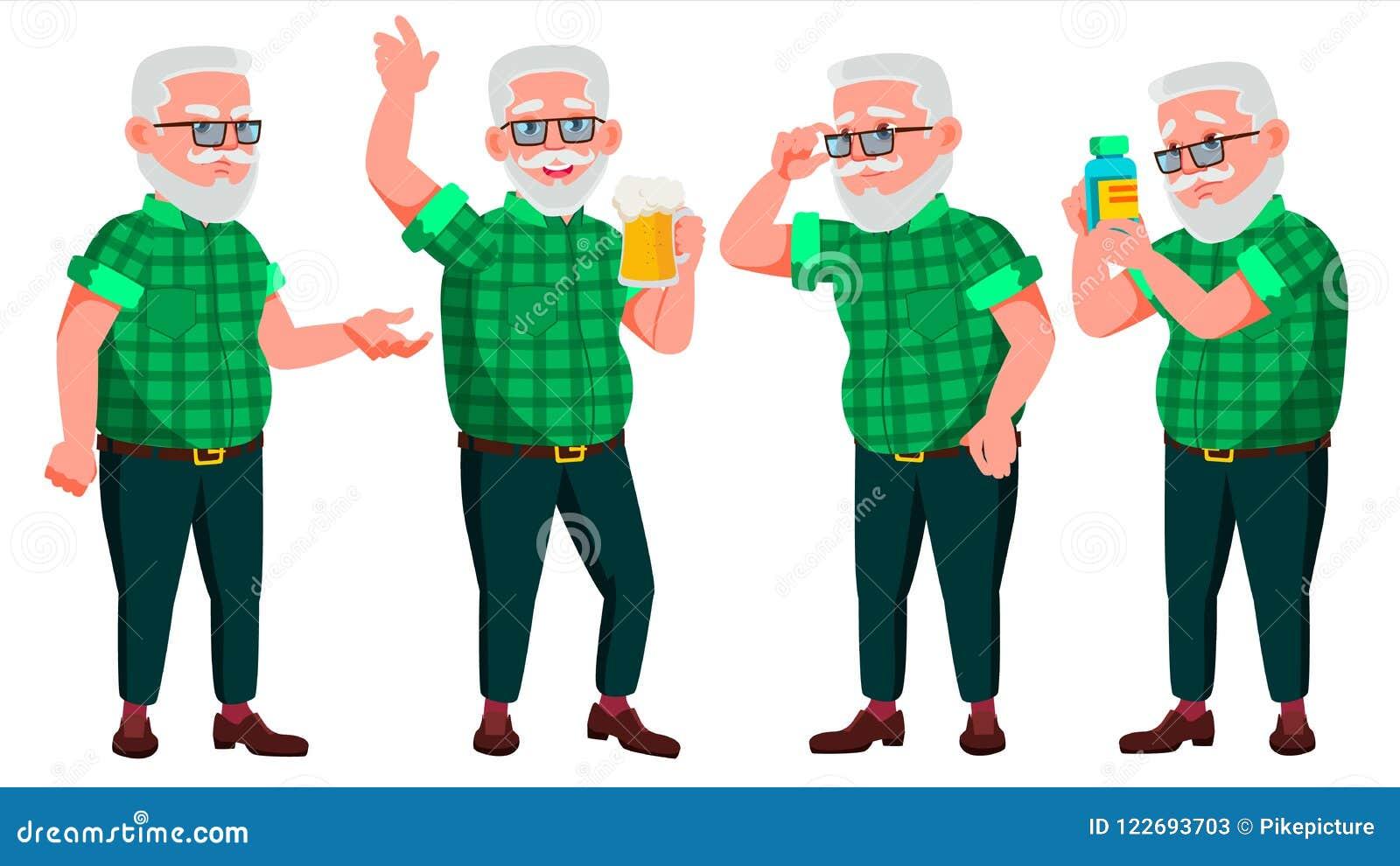 Vecteur réglé par poses de vieil homme Les personnes âgées Personne  supérieure âgé Grand-parent 4552a2b705b3