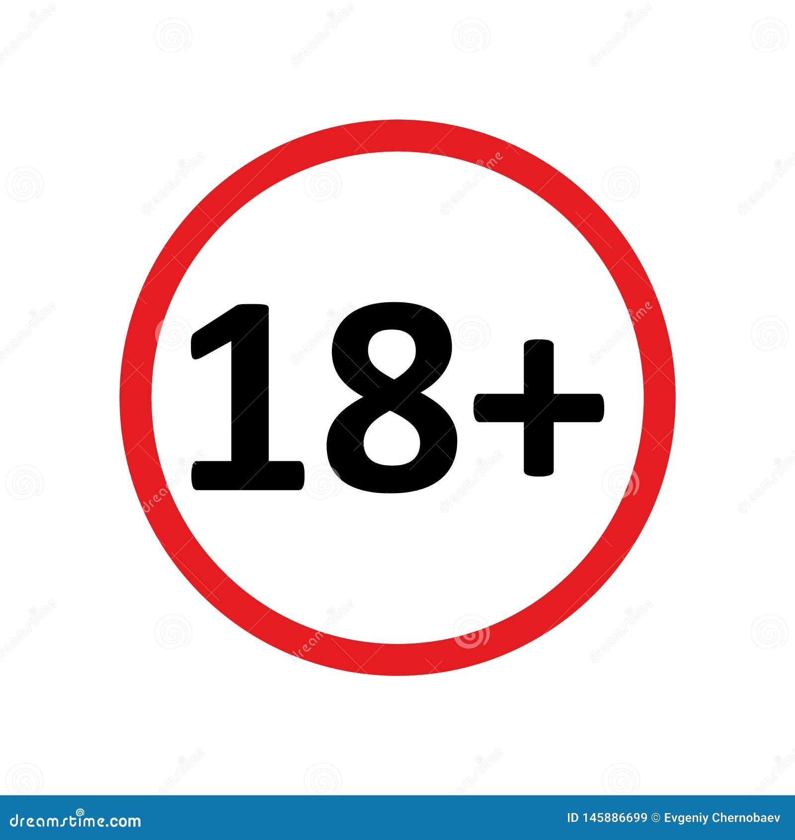 Vecteur rond rouge plus eps10 d icône de limite de l âge dix-huit sur le fond blanc