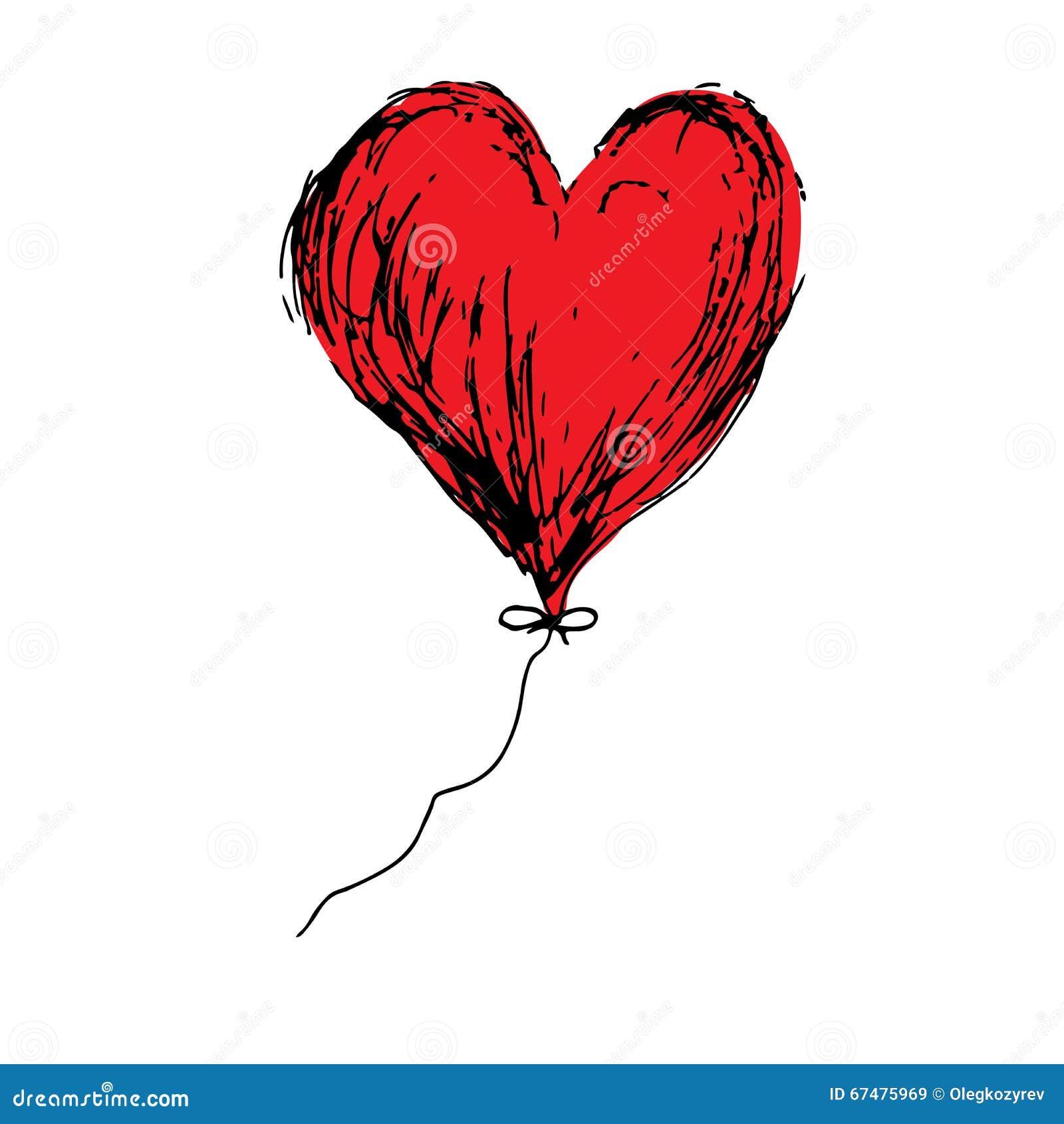 vecteur rouge de dessin de main de griffonnage de coeur de. Black Bedroom Furniture Sets. Home Design Ideas
